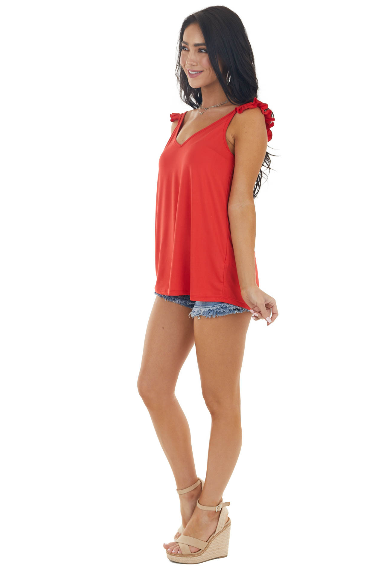 Candy Apple Red Split Ruffled Strap Knit Tank Top
