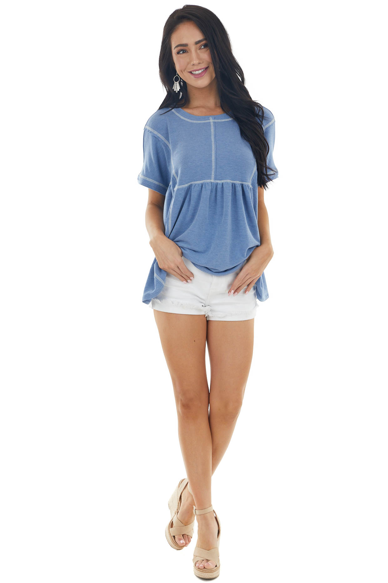Heathered Blue Short Sleeve Knit Top with Exposed Stitching