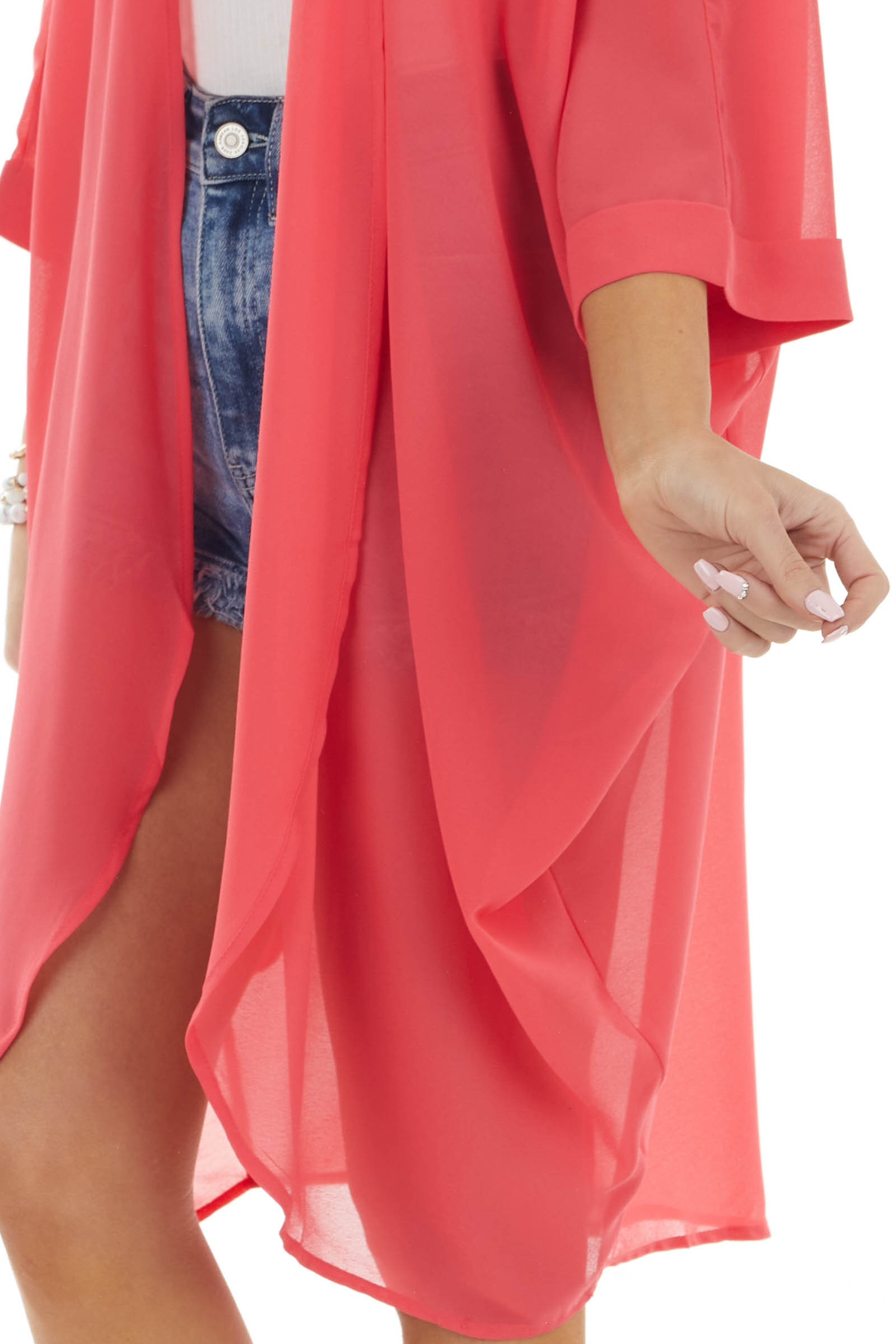 Punch Open Front Woven Kimono with Half Length Sleeves