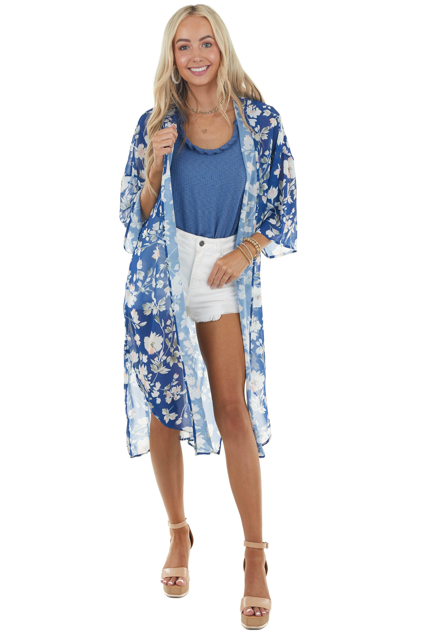 Catalina Blue Floral Print Open Front Duster Kimono