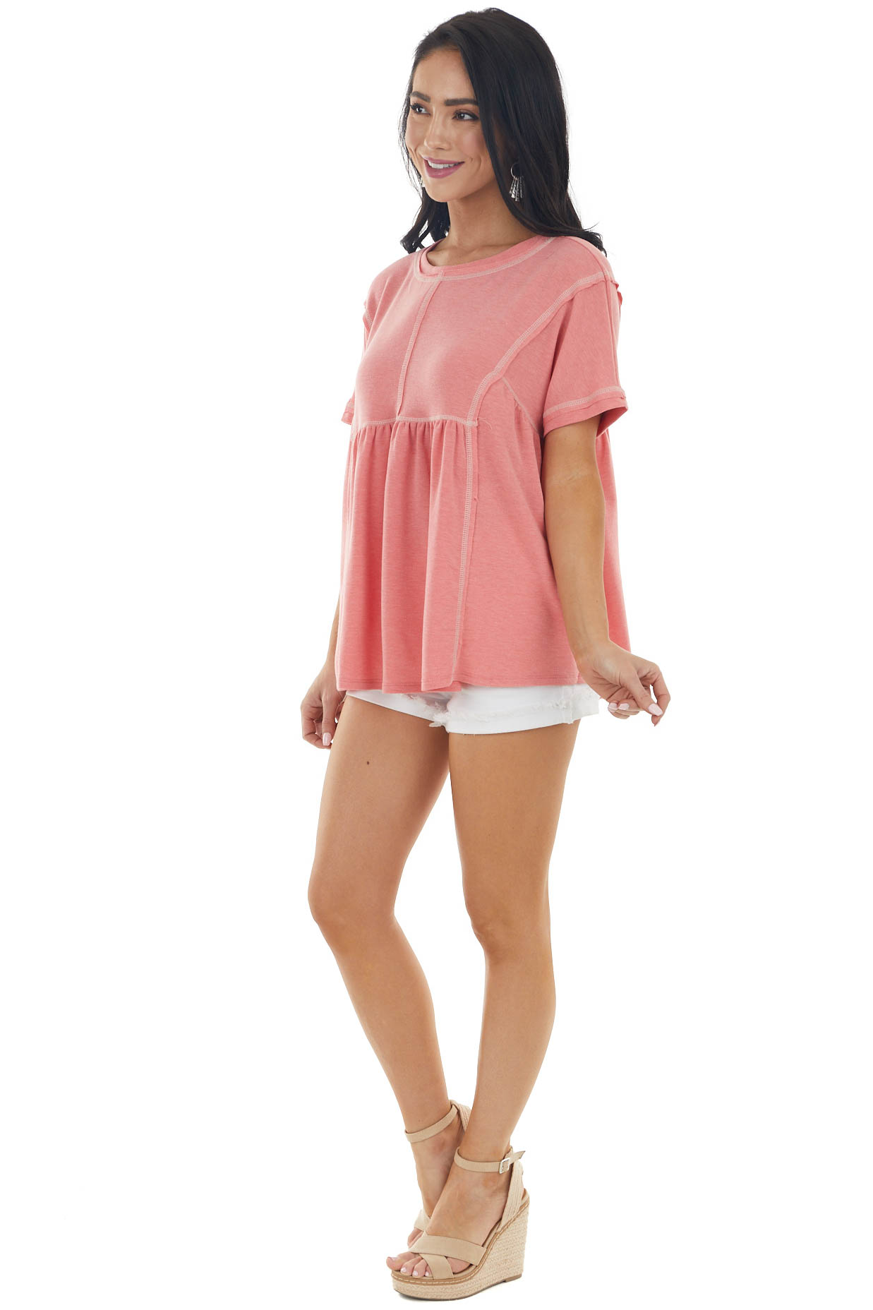Heathered Coral Short Sleeve Knit Top with Exposed Stitching