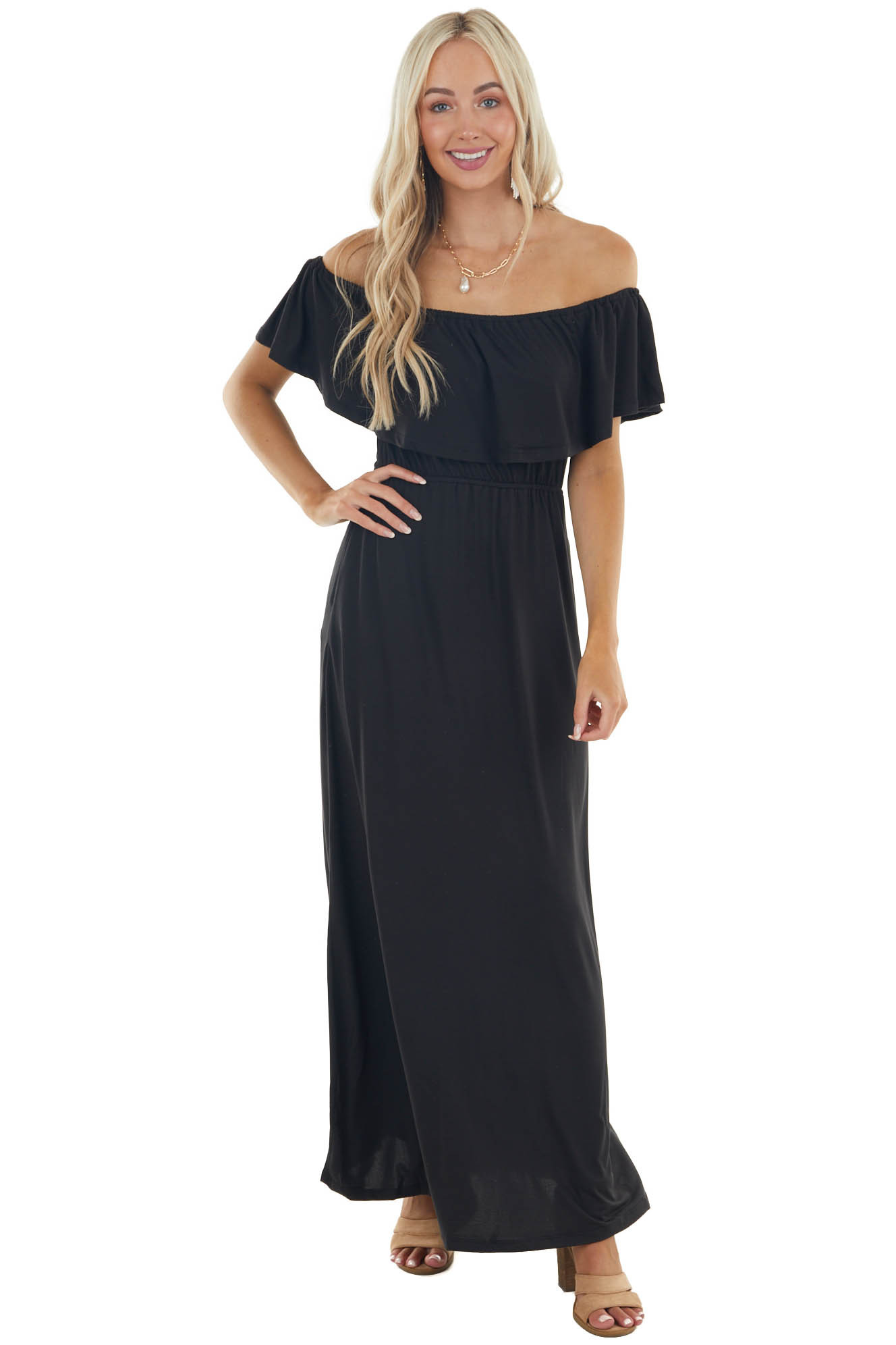 Black Off Shoulder Knit Maxi Dress with Overlaying Detail