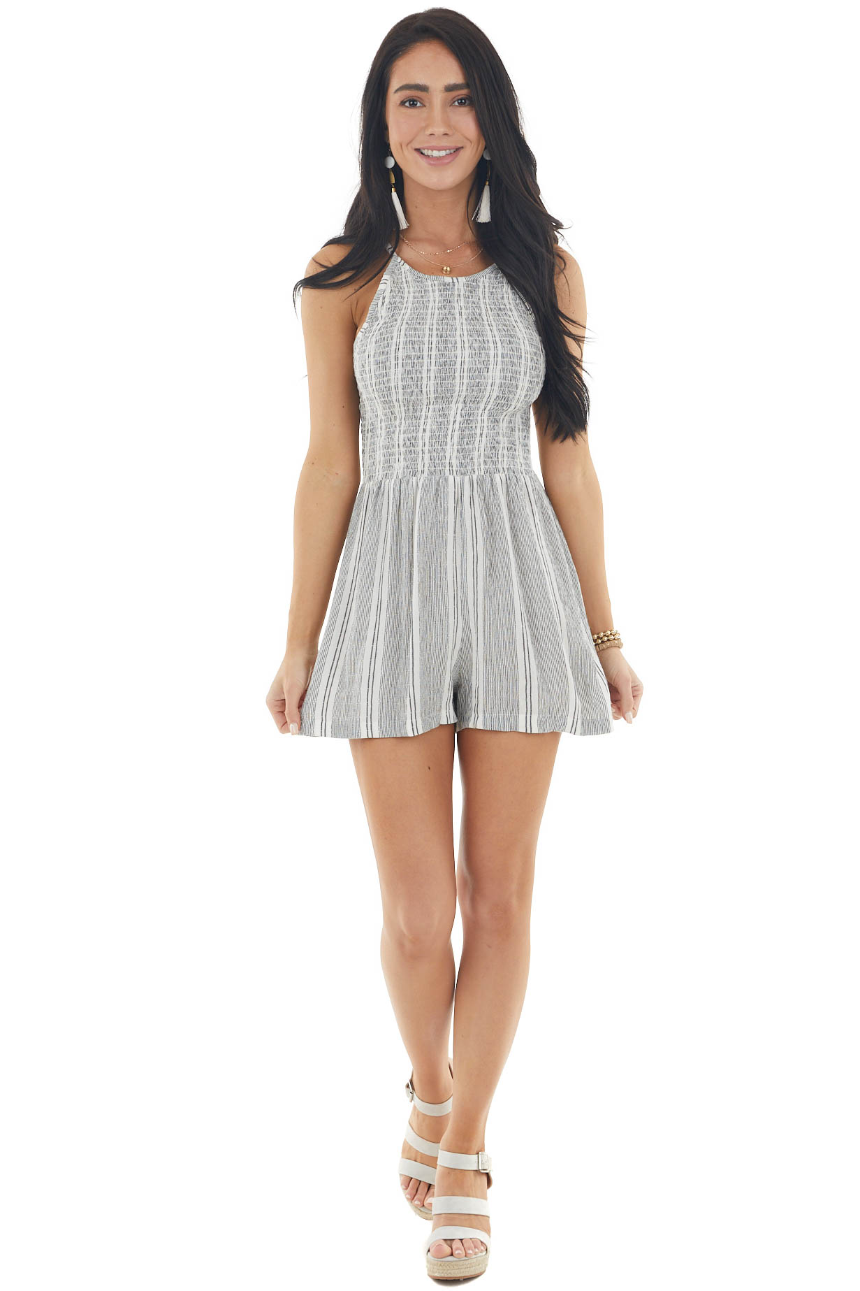 Faded Black and White Striped Sleeveless Smocked Romper