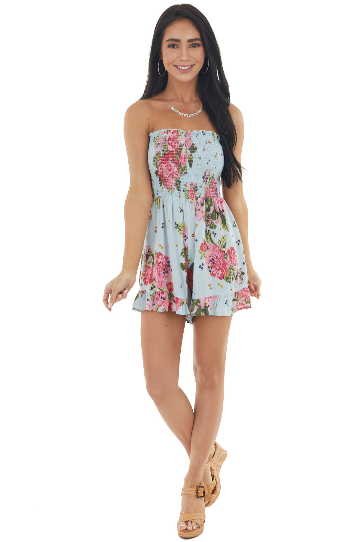 Sky Blue Floral Print Strapless Romper with Smocked Bodice