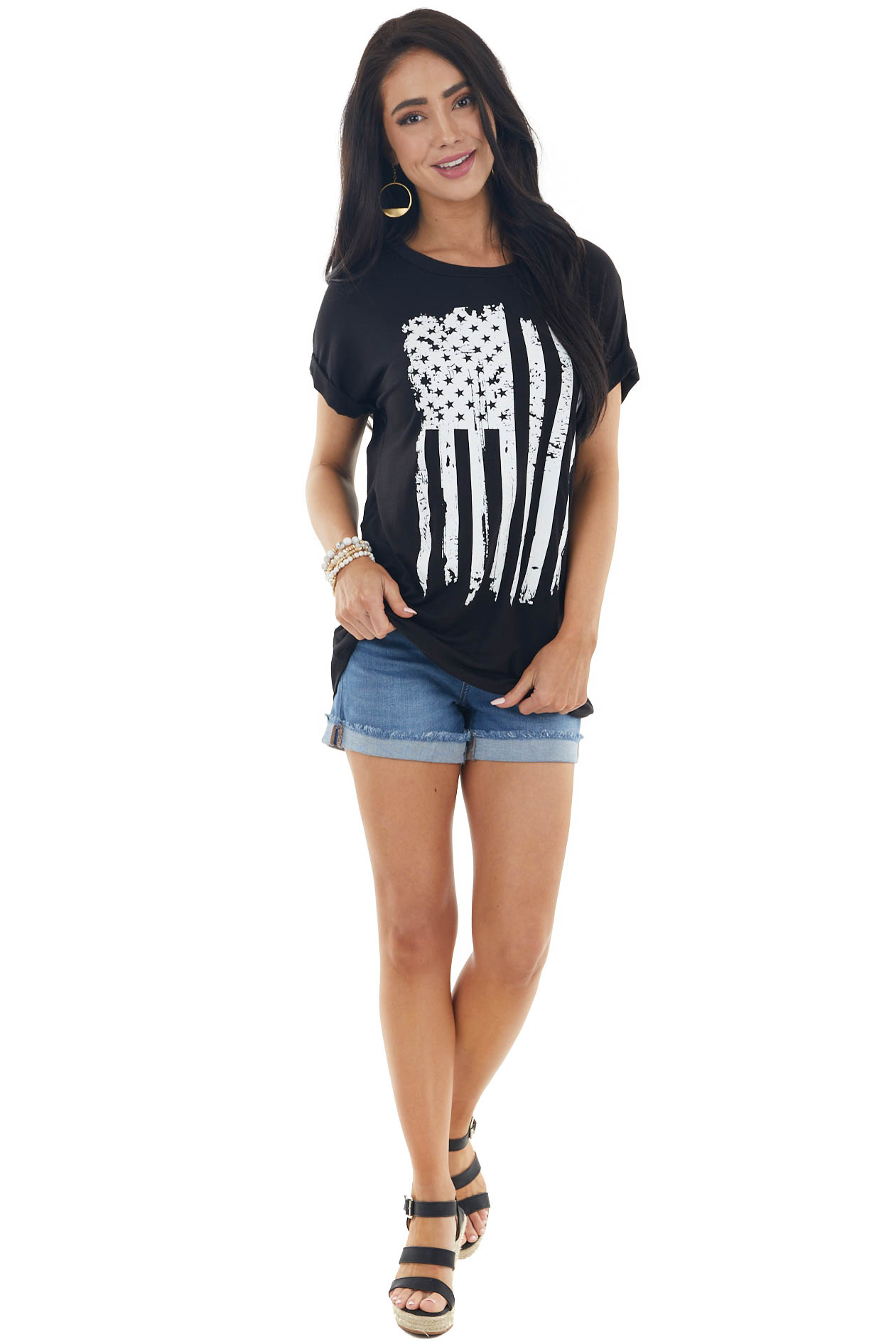 Black Short Sleeve Knit Top with American Flag Graphic