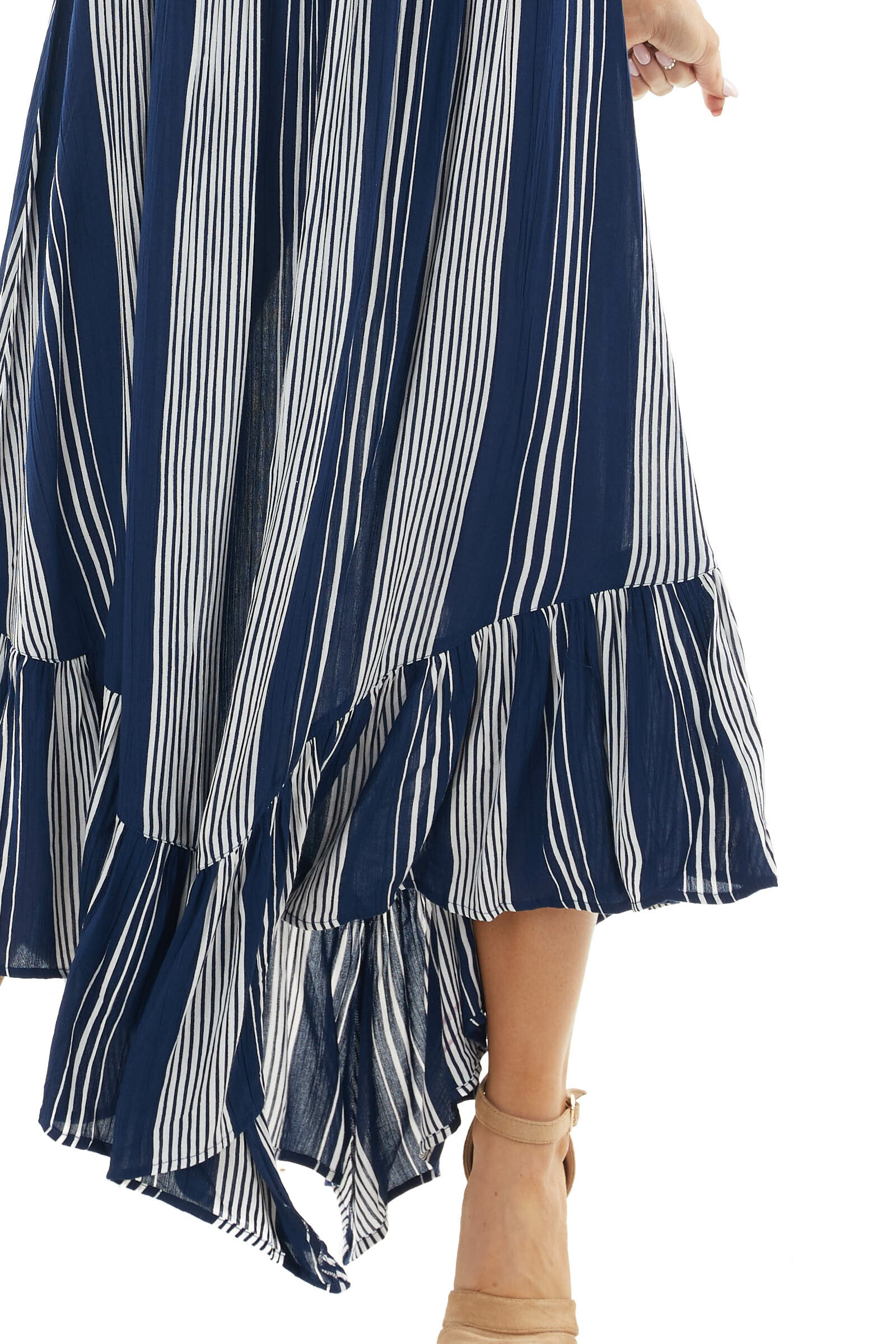 Catalina Blue Striped Strapless Smocked Woven Maxi Dress