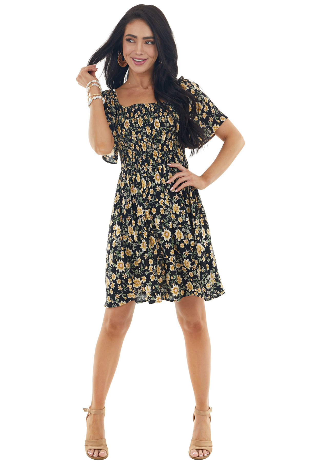 Black Floral Print Woven Short Dress with Smocked Bodice