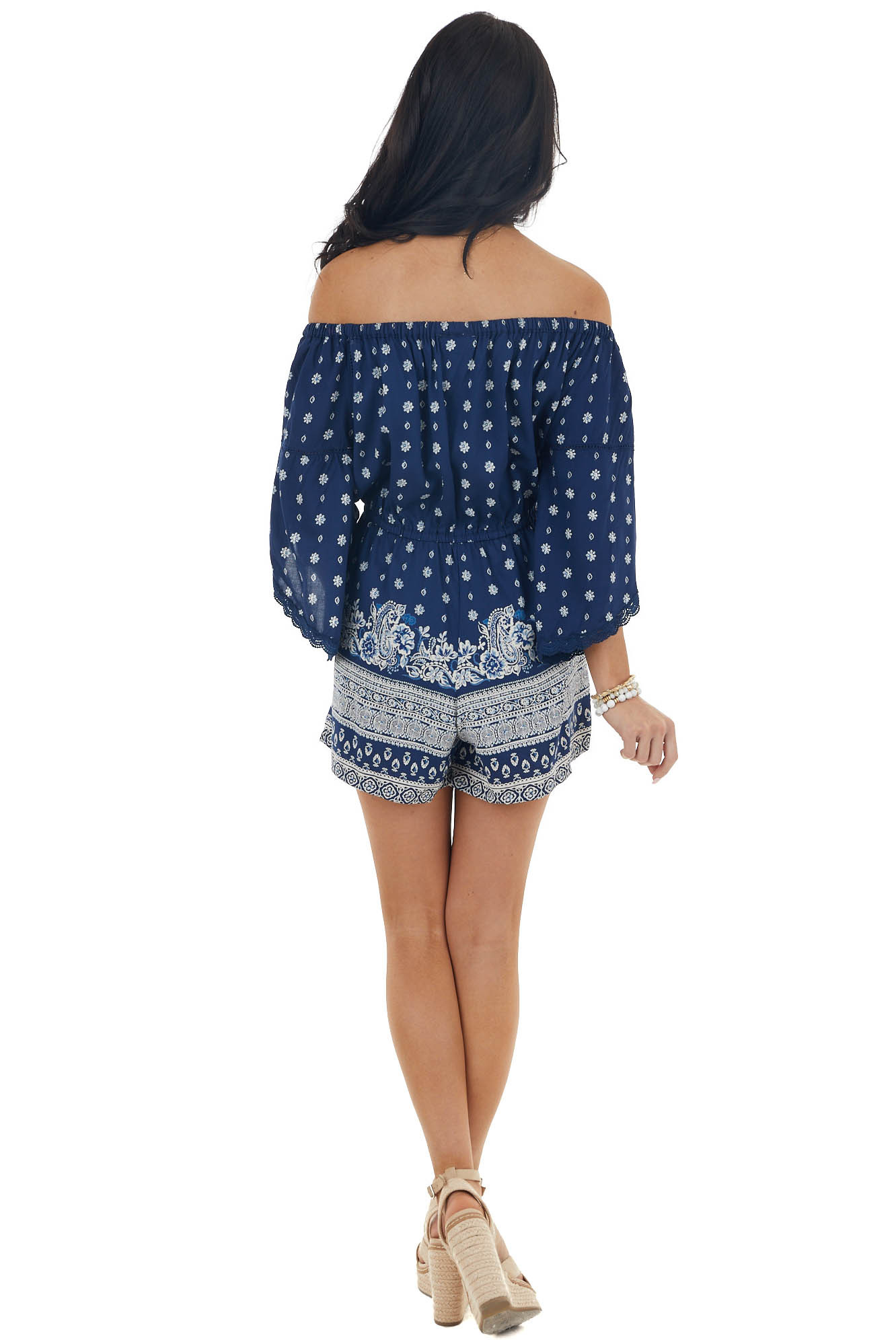 Navy Blue Abstract Print 3/4 Sleeve Off Shoulder Romper
