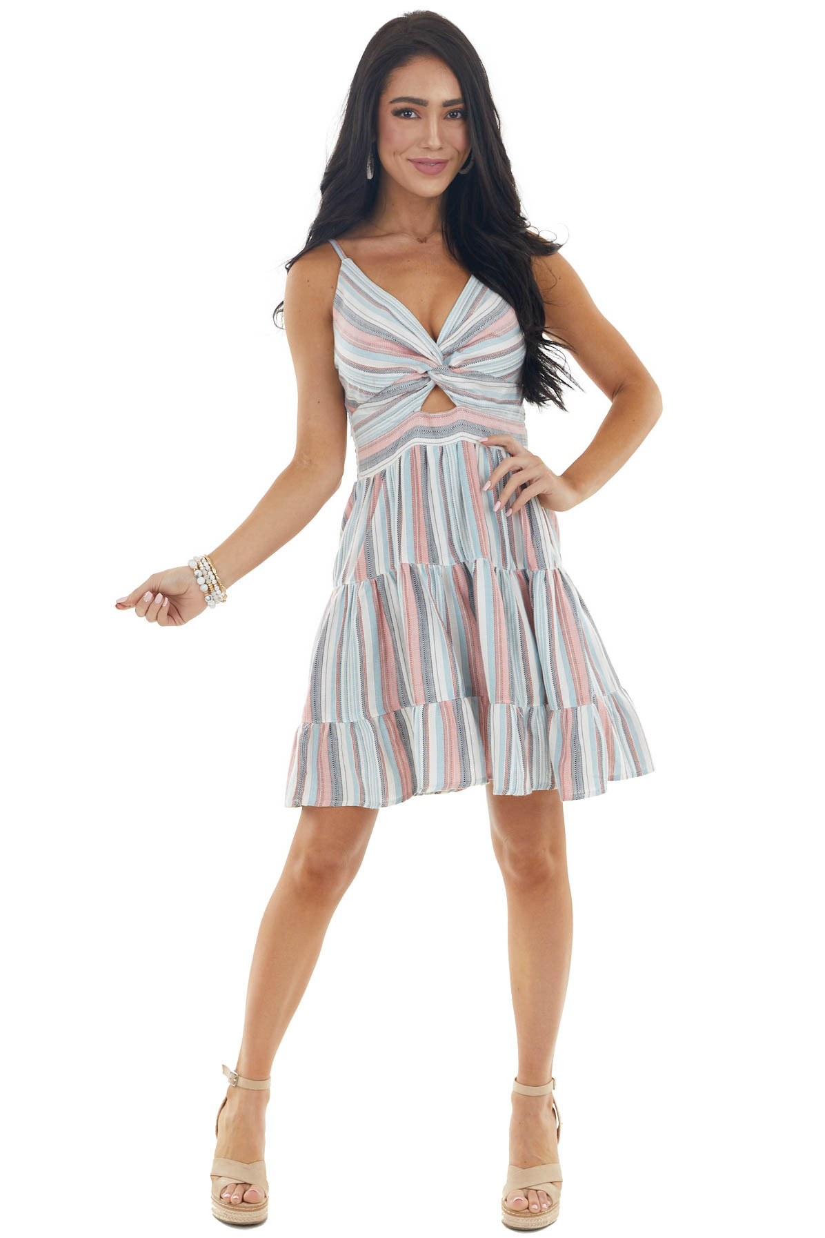 Multicolored Striped Short Tiered Dress with Twist Front