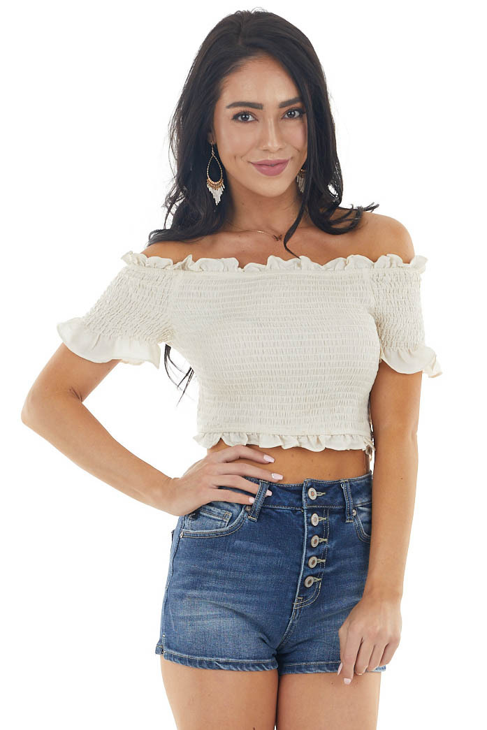 Ecru Off the Shoulder Smocked Crop Top with Ruffle Details