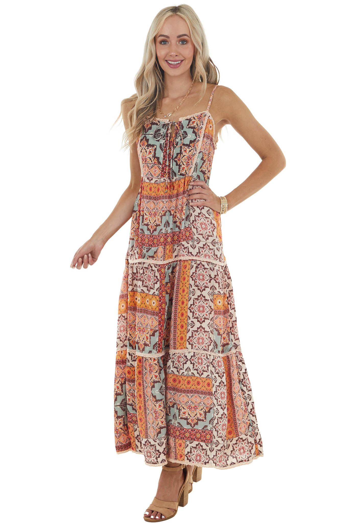 Marigold and Teal Printed Sleeveless Lace Trim Maxi Dress