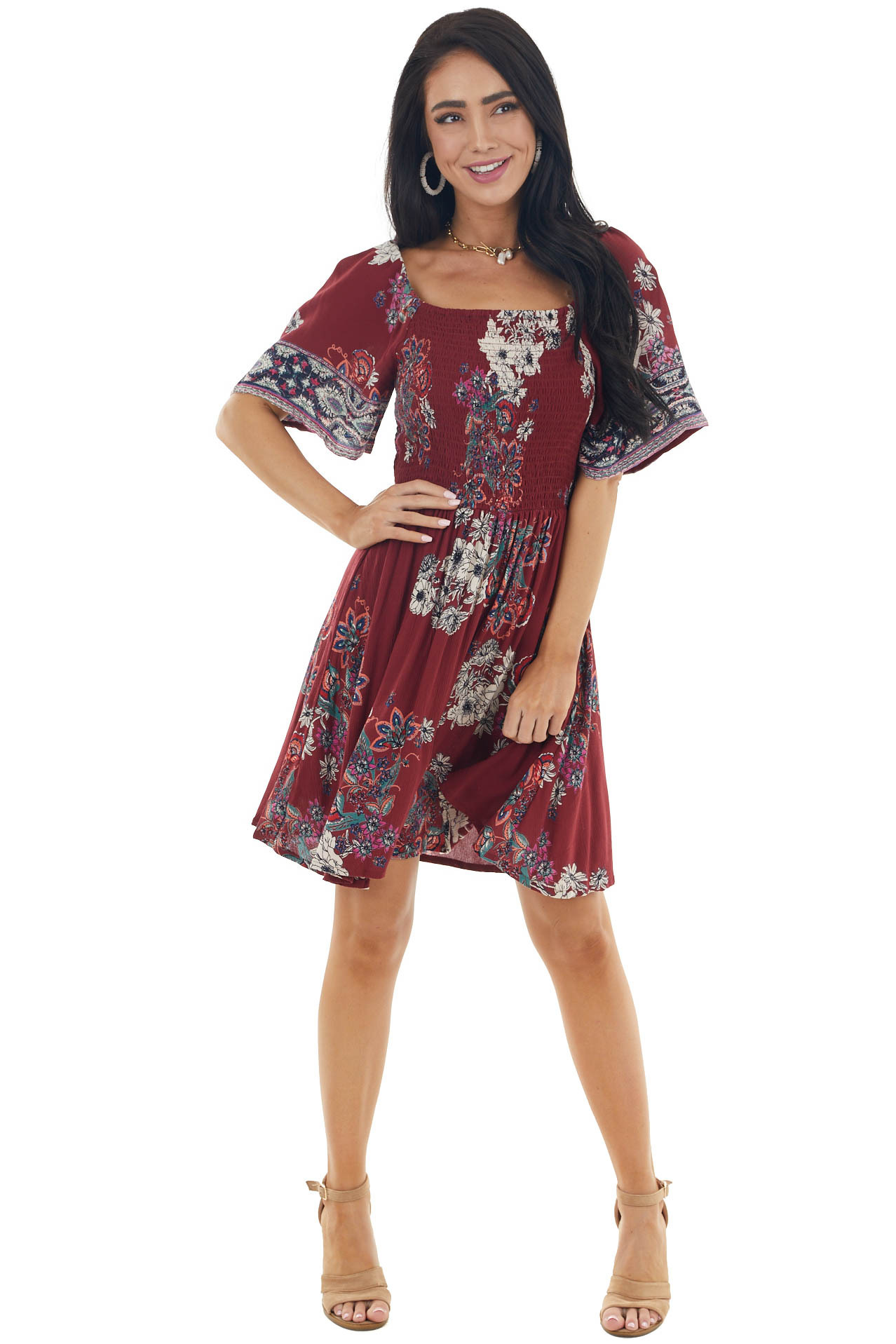 Maroon Floral Print Smocked Woven Skater Mini Dress