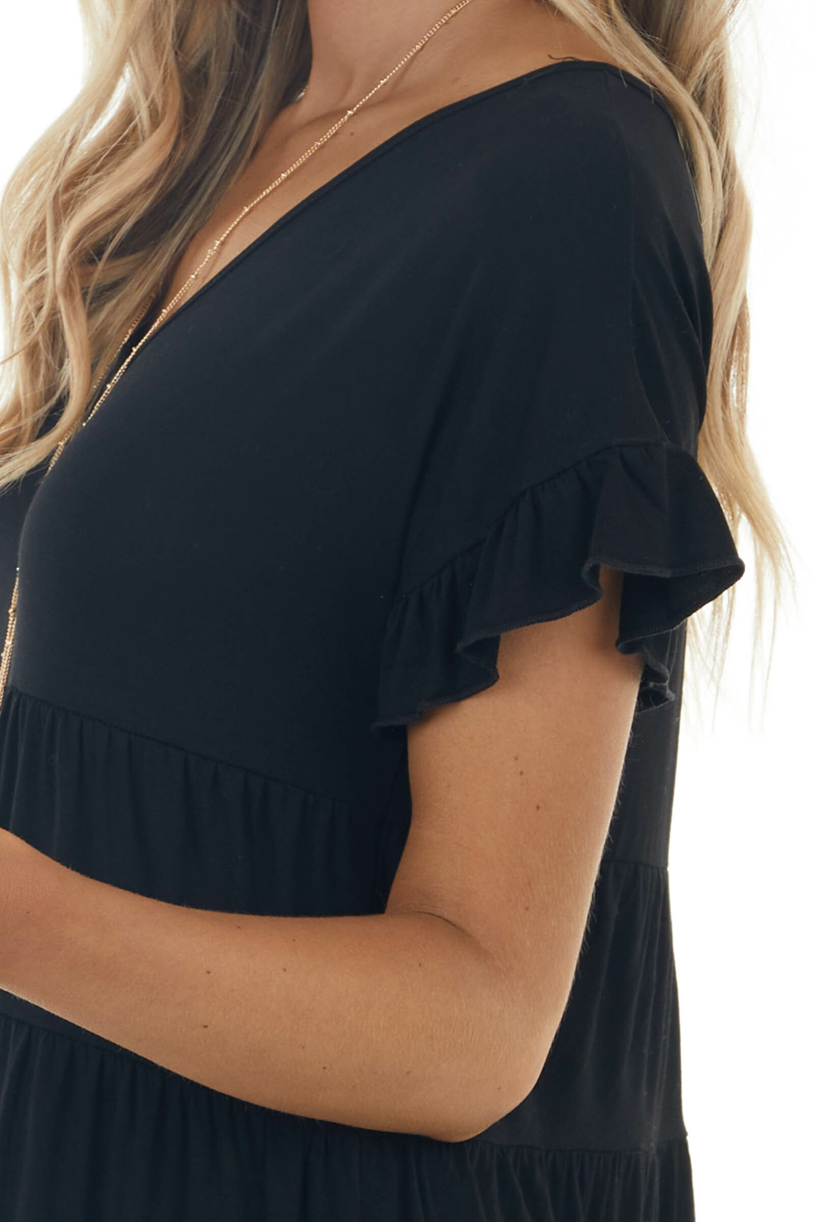 Black V Neck Skater Tiered Knit Dress with Ruffle Details
