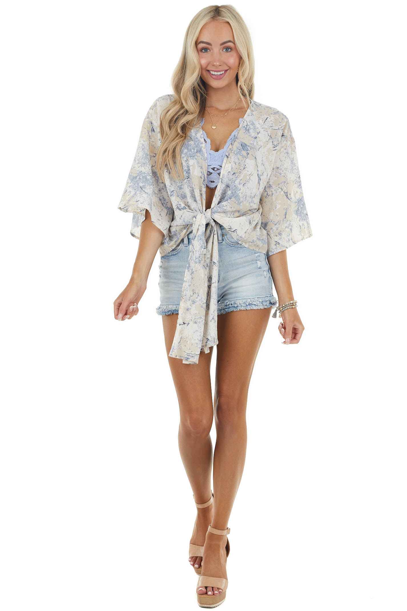 Sand and Dusty Blue Abstract Print Blouse with Front Tie