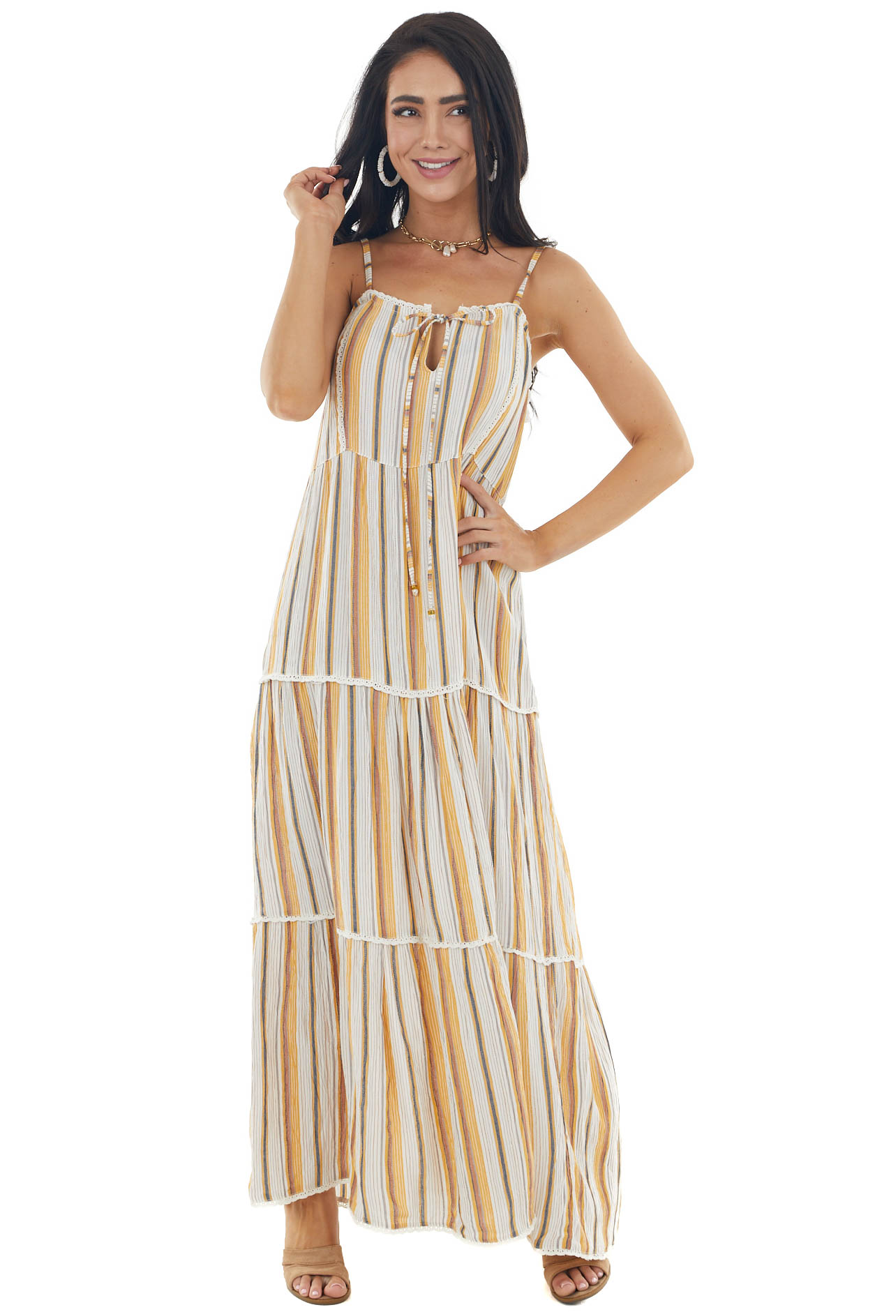 Ivory and Multicolor Striped Sleeveless Woven Maxi Dress