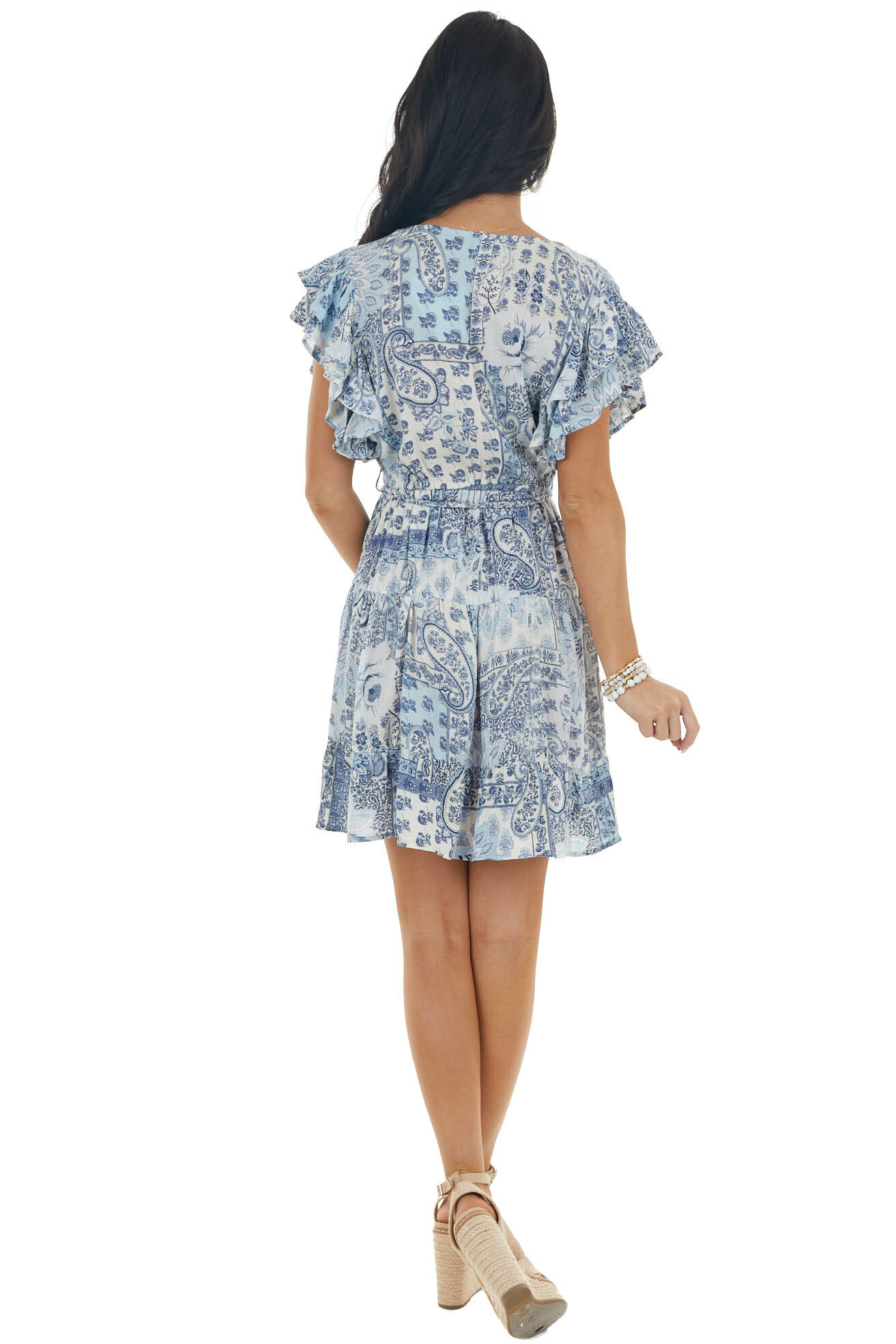 Sky Blue Paisley and Floral Print V Neck Tiered Dress