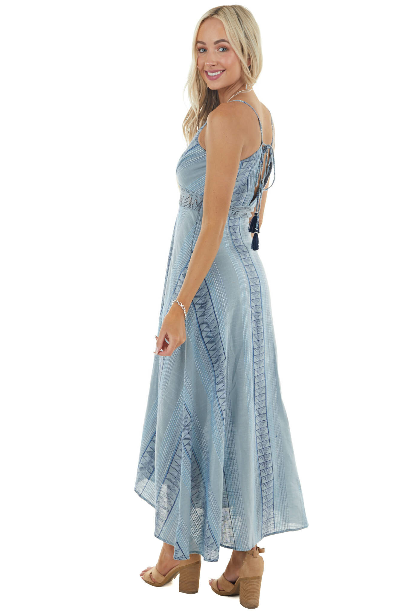 Slate Blue Printed Woven Midi Dress with Front Slit