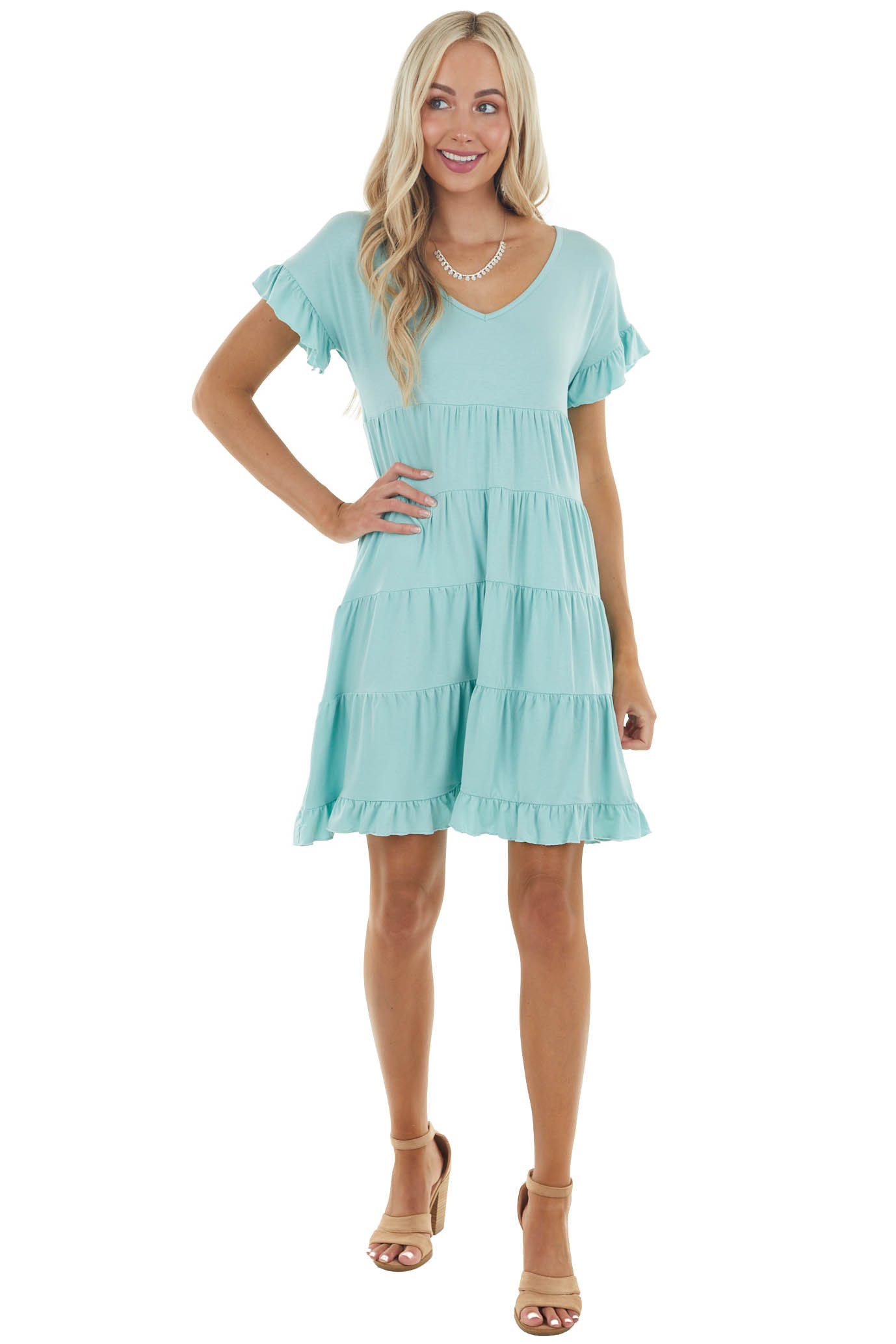 Seafoam V Neck Skater Tiered Knit Dress with Ruffle Details