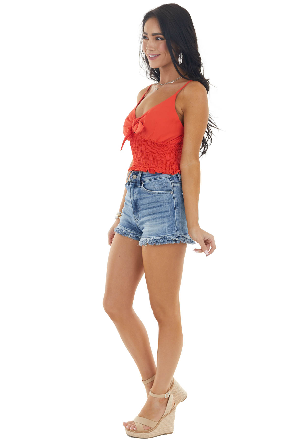 Tomato Red Spaghetti Strap Crop Top with Front Tie Detail