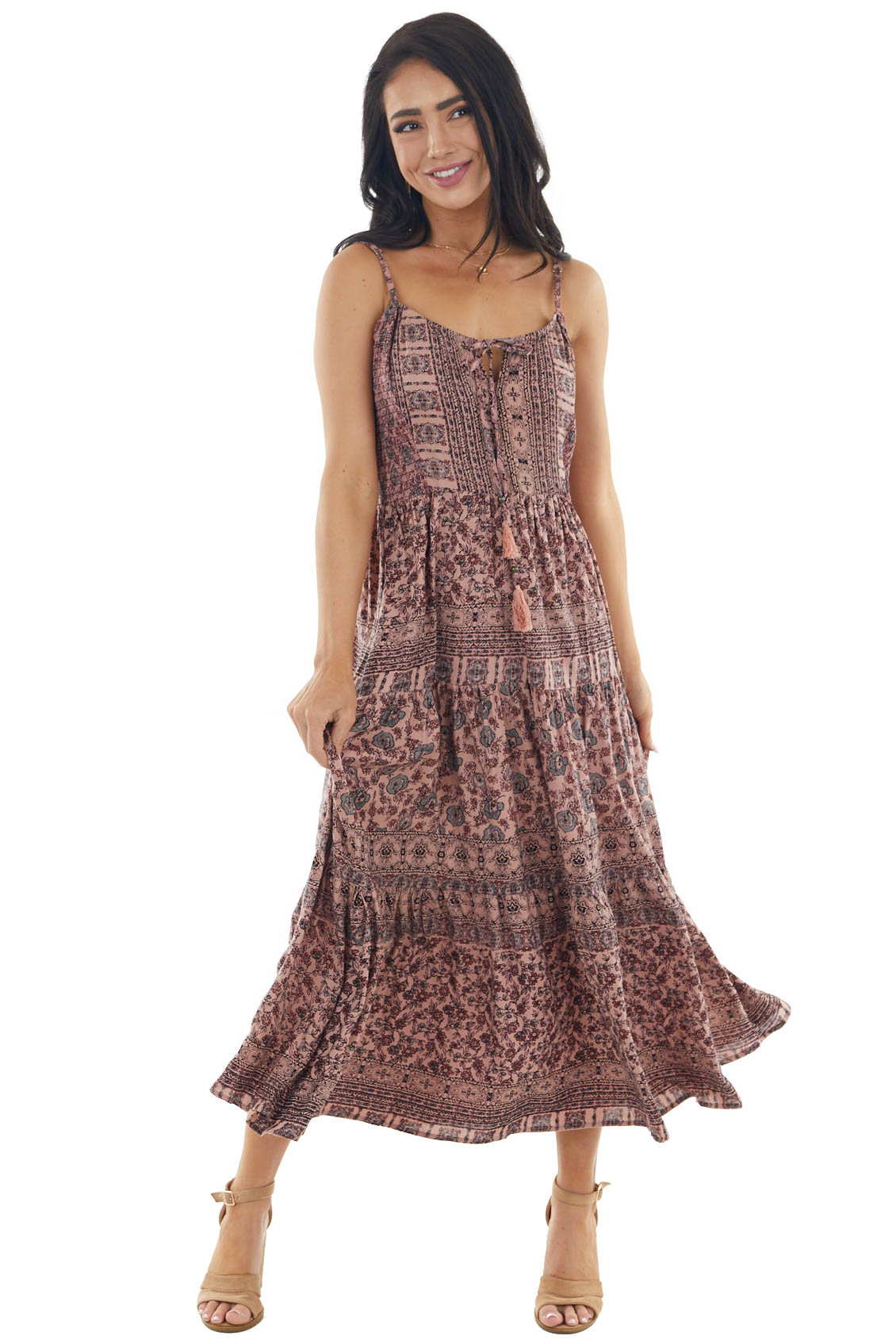 Dusty Rose Floral Print Tiered Midi Dress with Tie Details