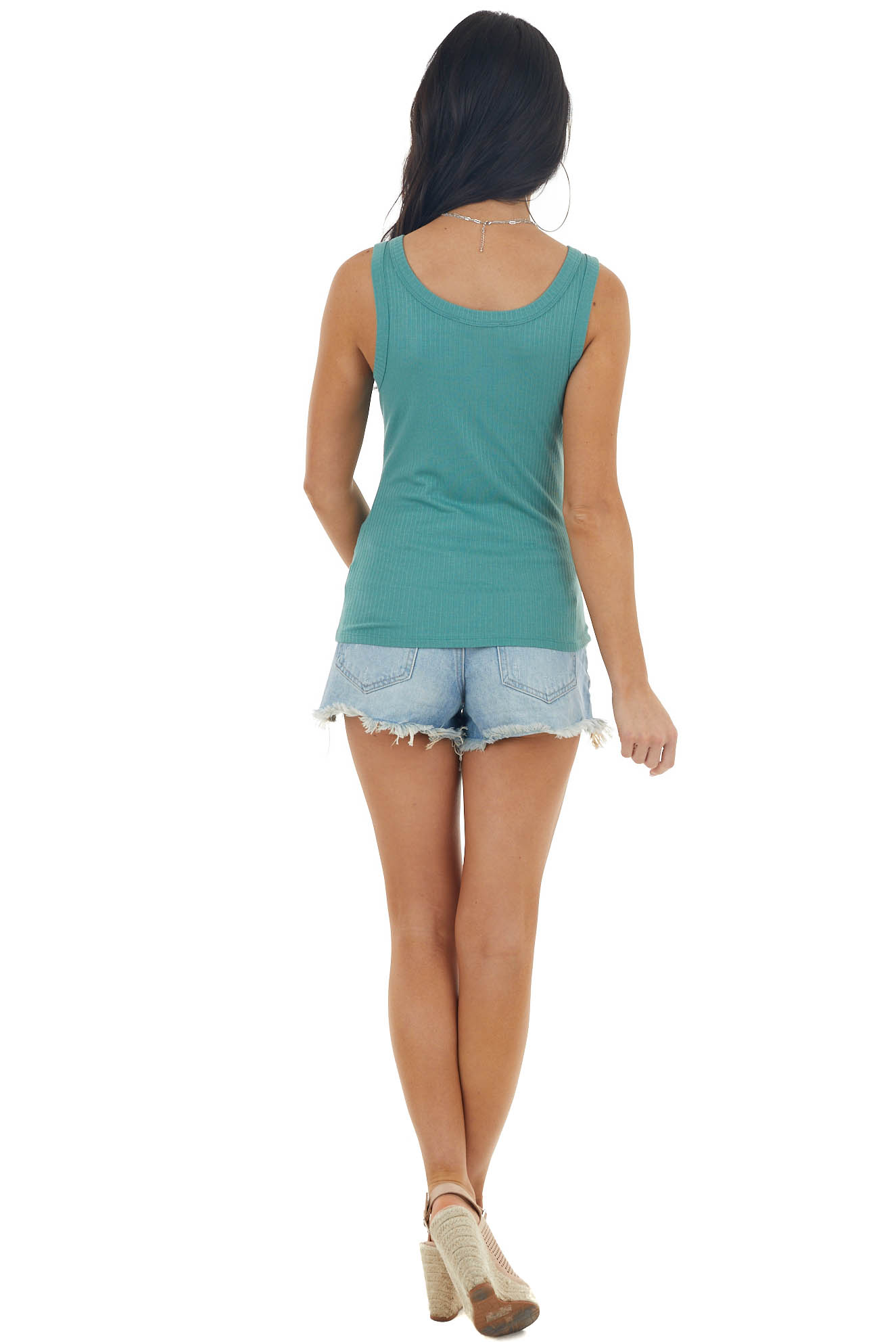 Juniper Stretchy Ribbed Knit Tank Top with Scoop Neck