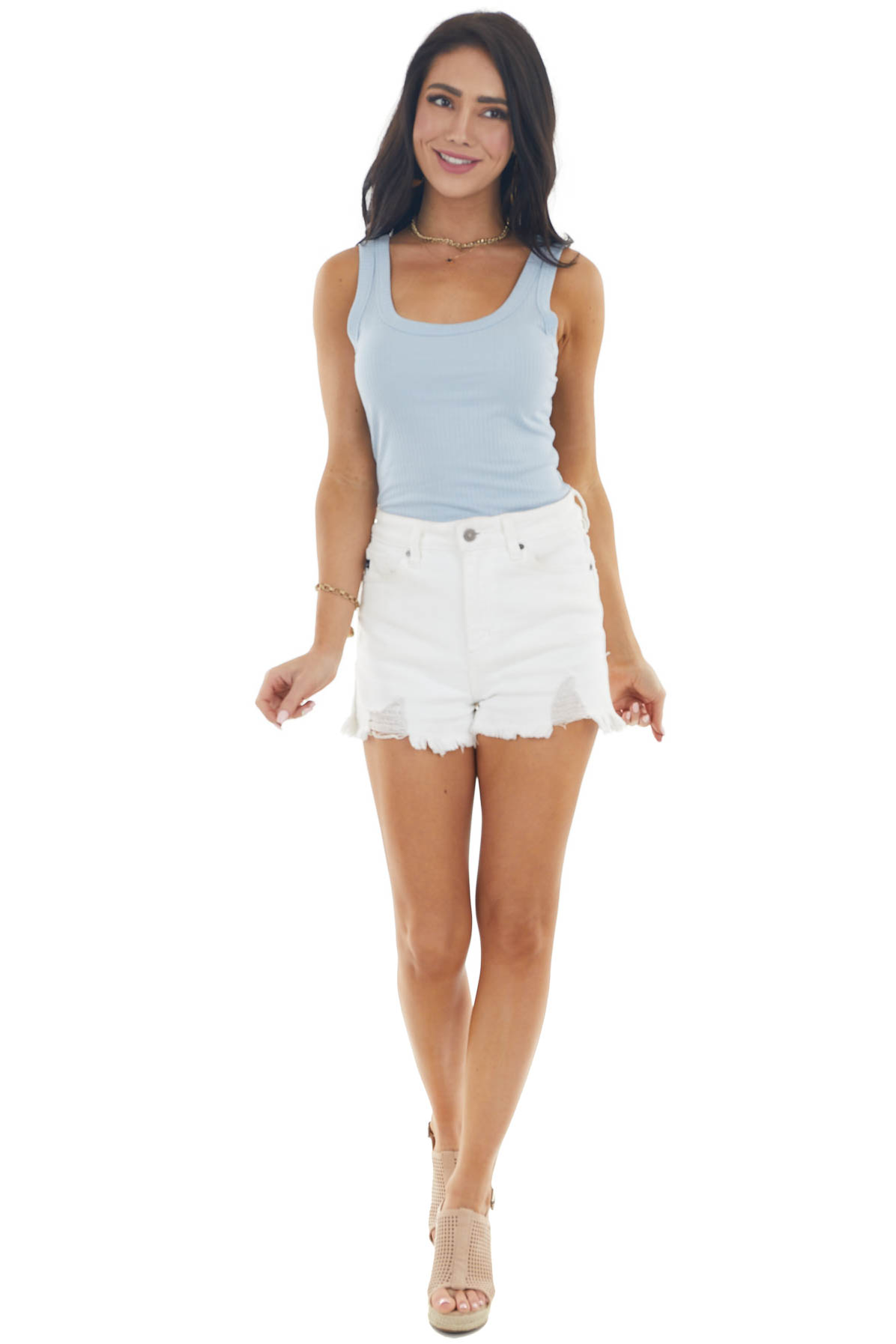 Powder Blue Stretchy Ribbed Knit Tank Top with Scoop Neck