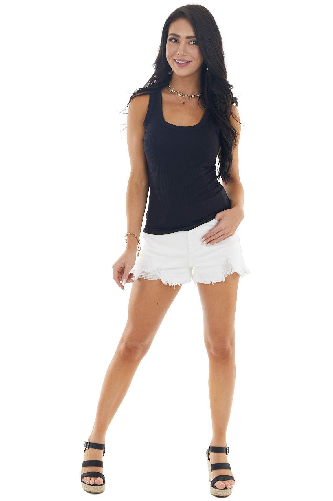 Black Stretchy Ribbed Knit Tank Top with Scoop Neck