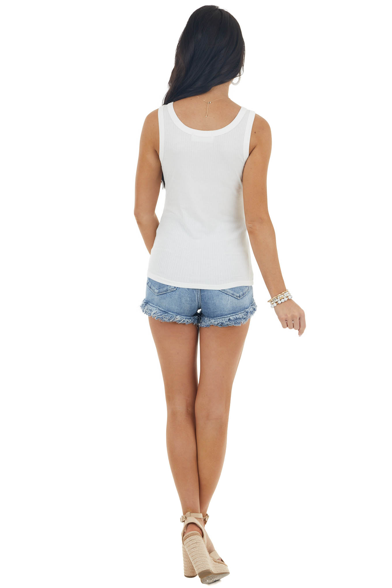 Ivory Stretchy Ribbed Knit Tank Top with Scoop Neck