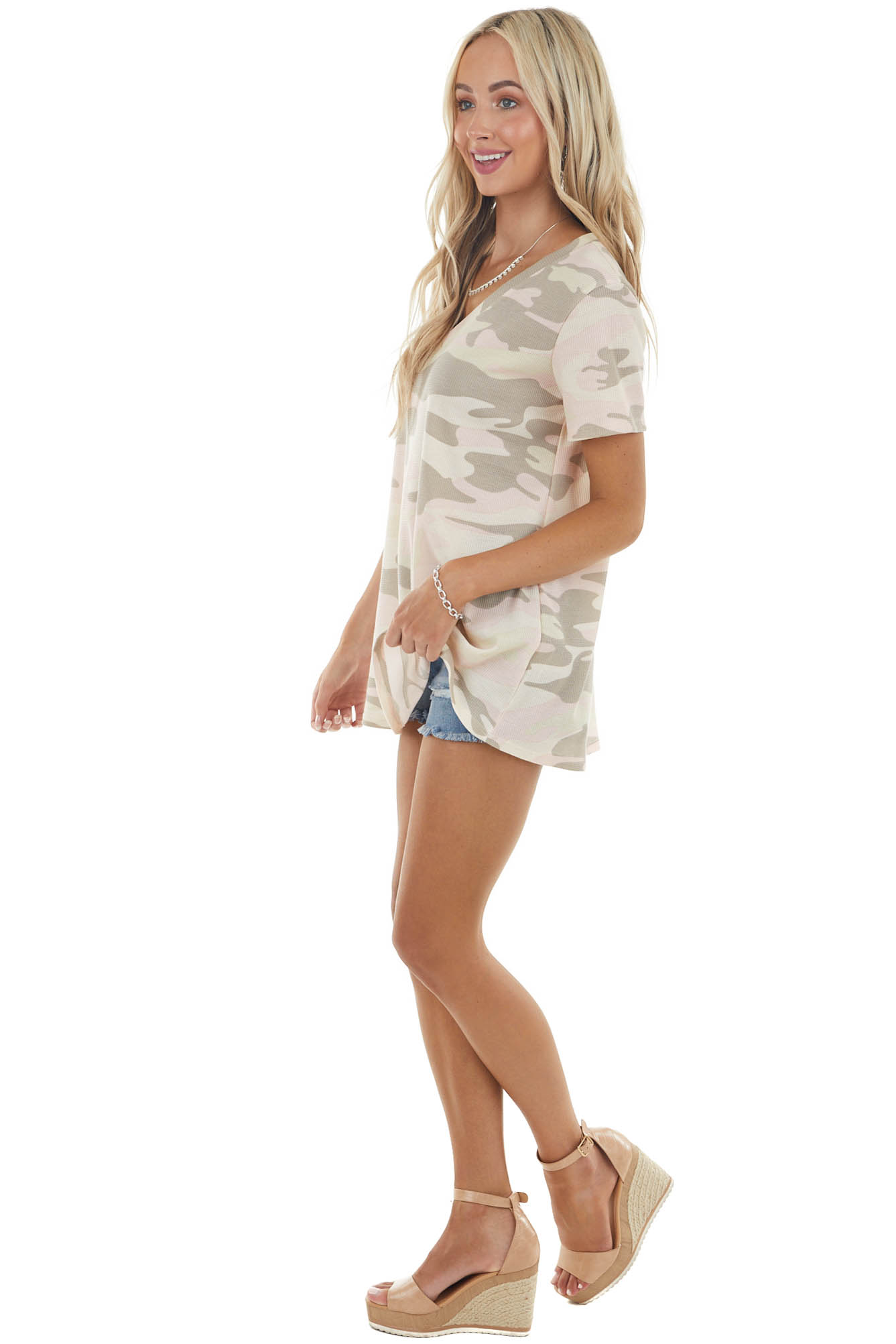 Desert Sand Camo Print Knit V Neck Top with Short Sleeves