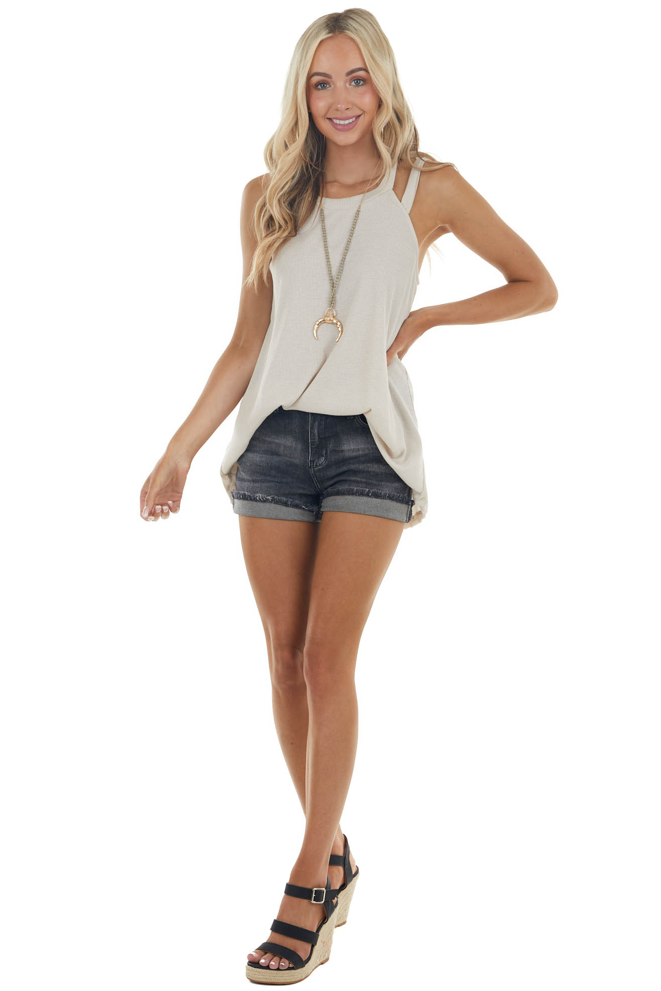 Sand Waffle Knit Tank Top with Strappy Halter Neckline