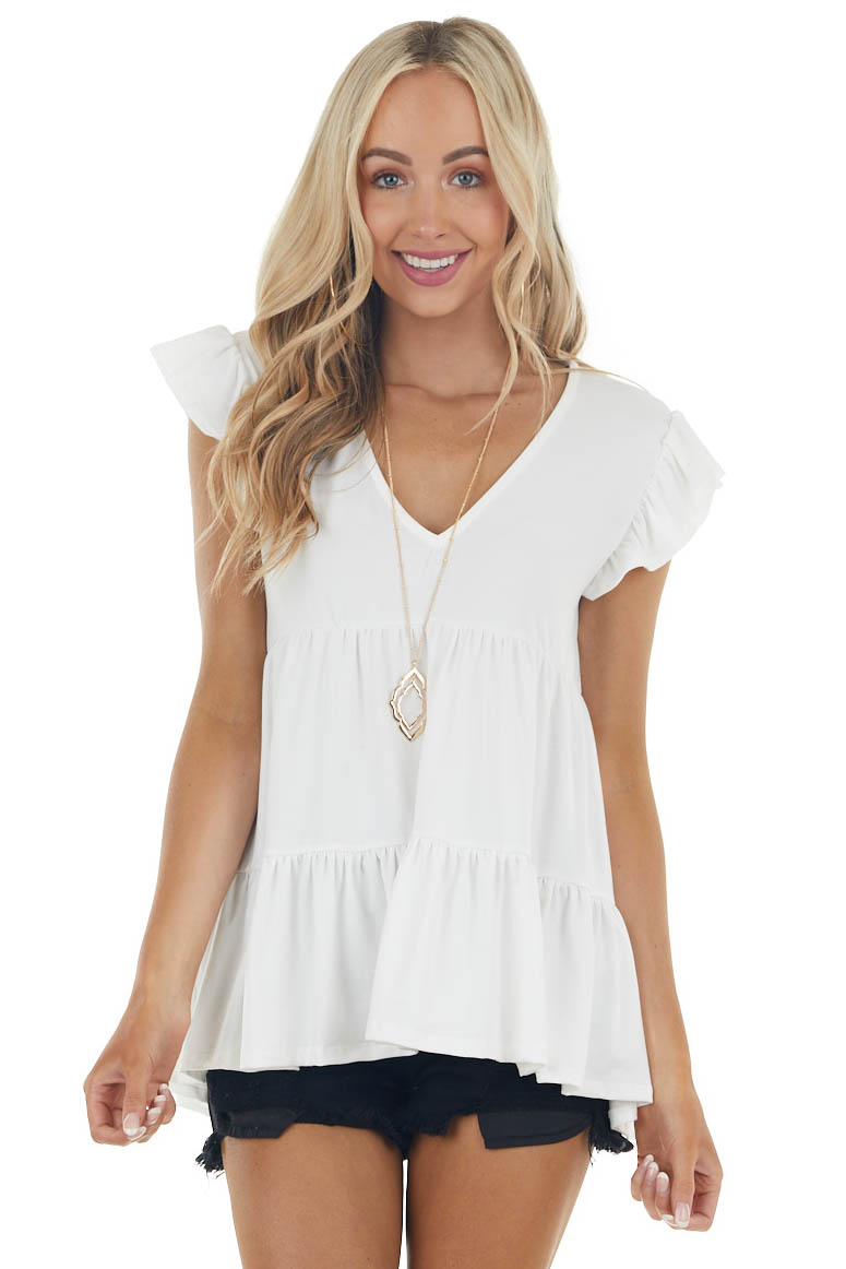 Pearl White Short Sleeve V Neck Tiered Babydoll Knit Top
