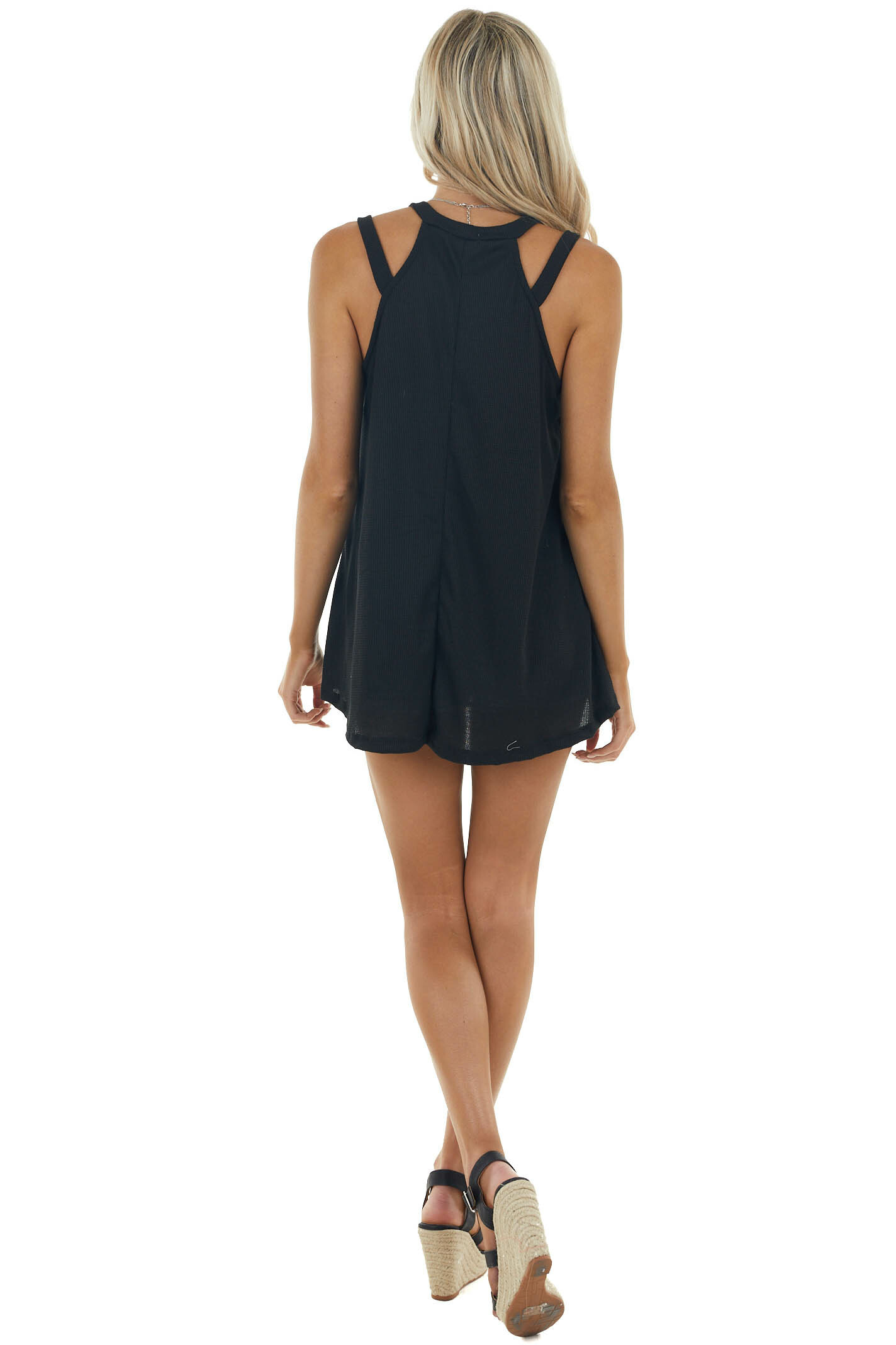 Black Waffle Knit Tank Top with Strappy Halter Neckline
