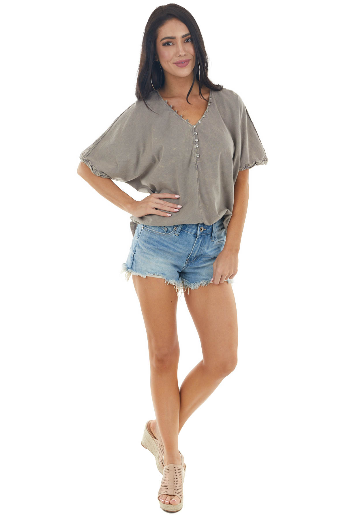 Taupe Mineral Wash Knit Top with Button Up V Neckline