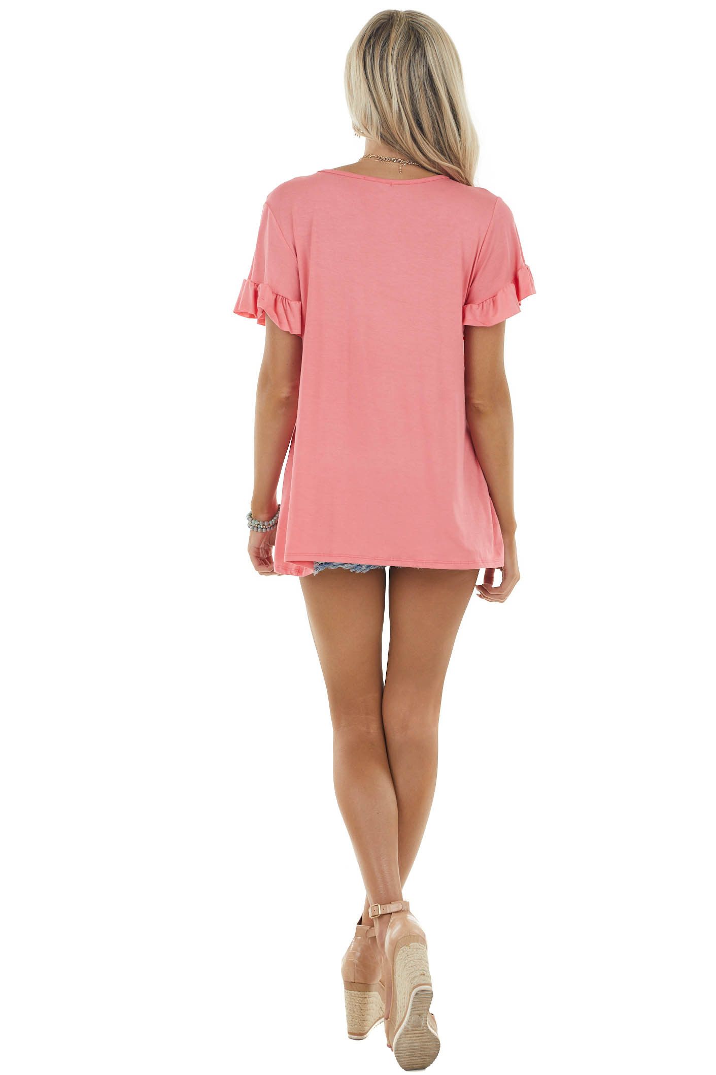 Coral Babydoll V Neck Knit Top with Short Sleeves