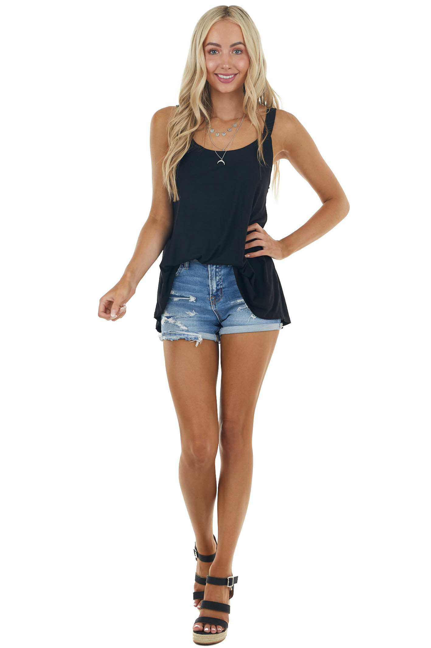 Black Soft Stretchy Knit Tank Top with Thick Straps