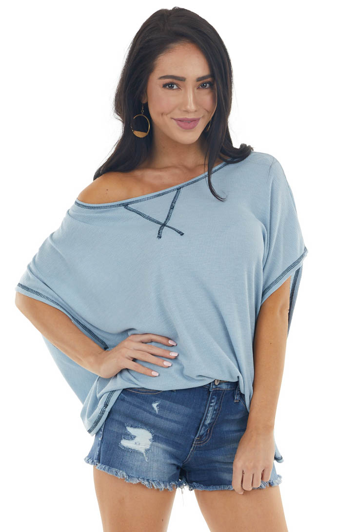 Powder Blue Waffle Knit Open Back Top with Exposed Stitching