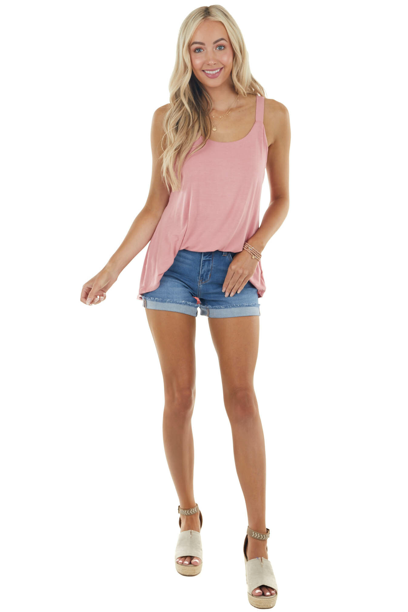 Dusty Blush Soft Stretchy Knit Tank Top with Thick Straps