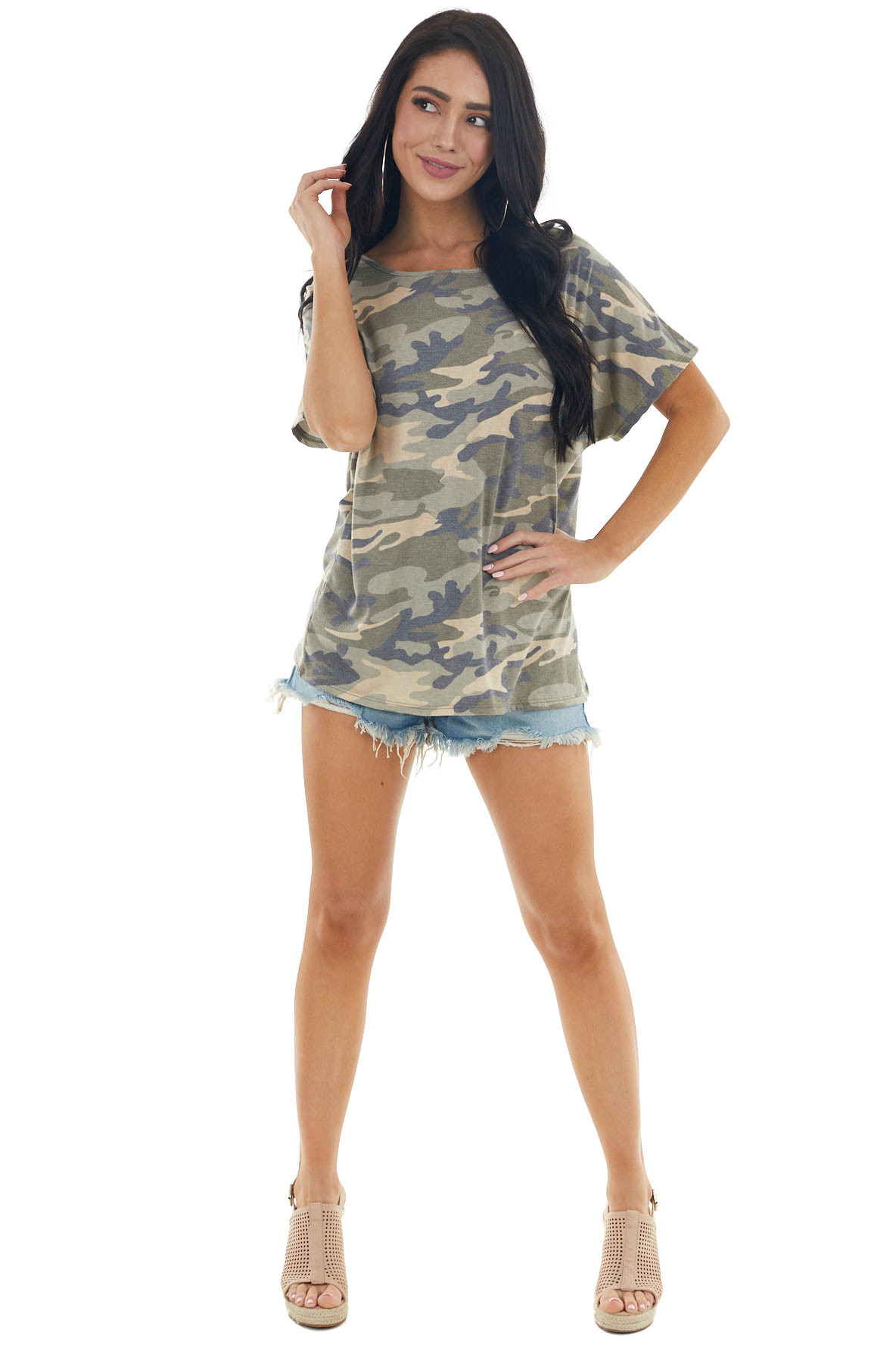 Army Green Camo Print Open Back Knit Top with Twist Detail