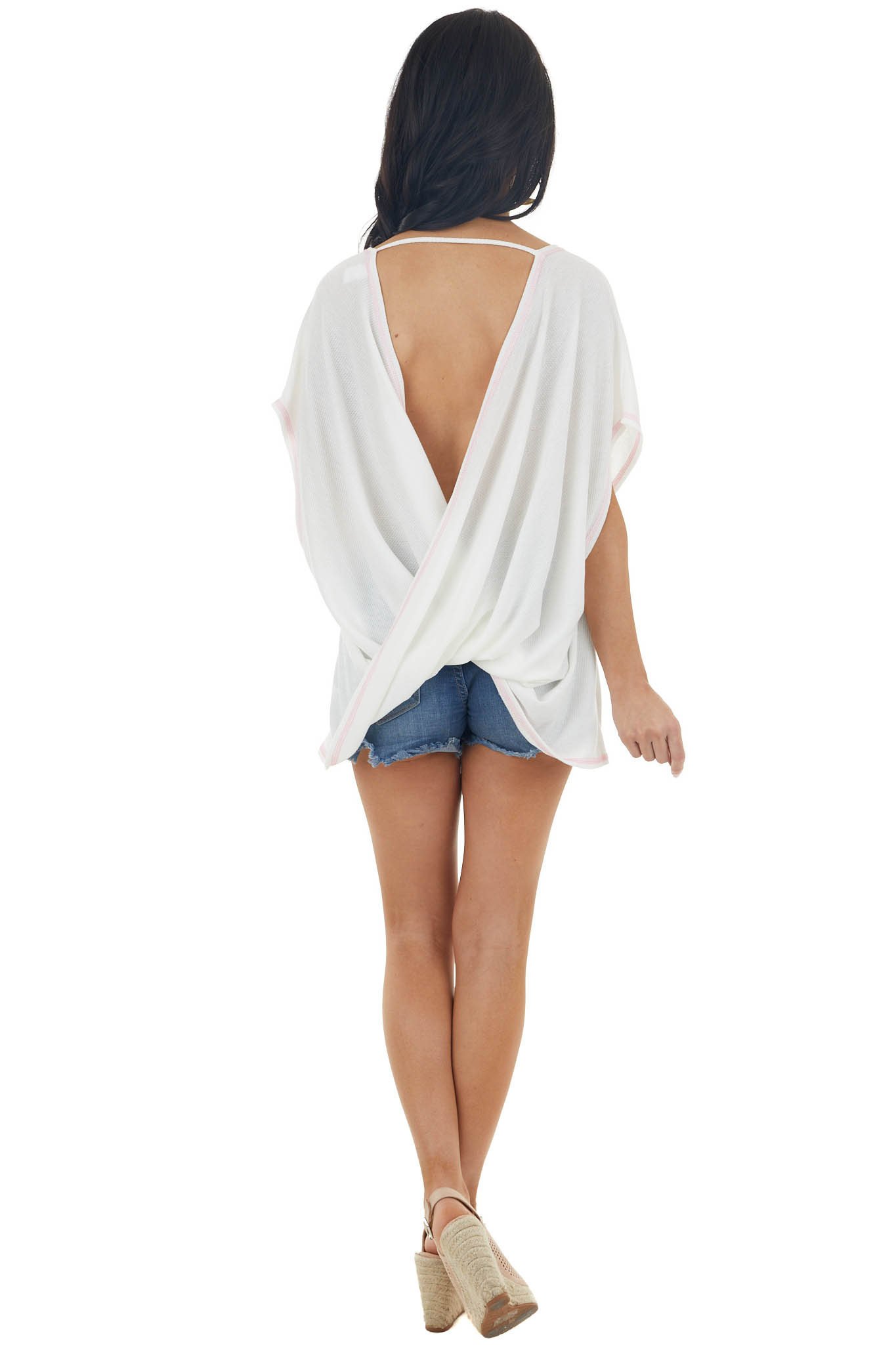 Ivory Waffle Knit Open Back Top with Exposed Stitching