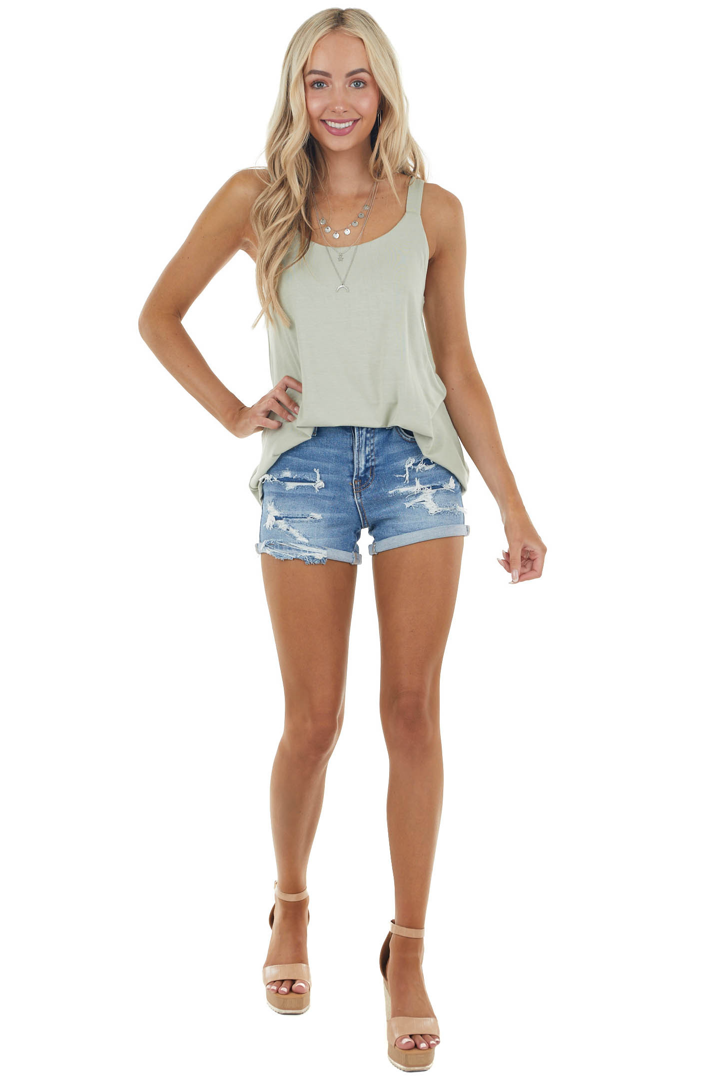 Dusty Sage Soft Stretchy Knit Tank Top with Thick Straps