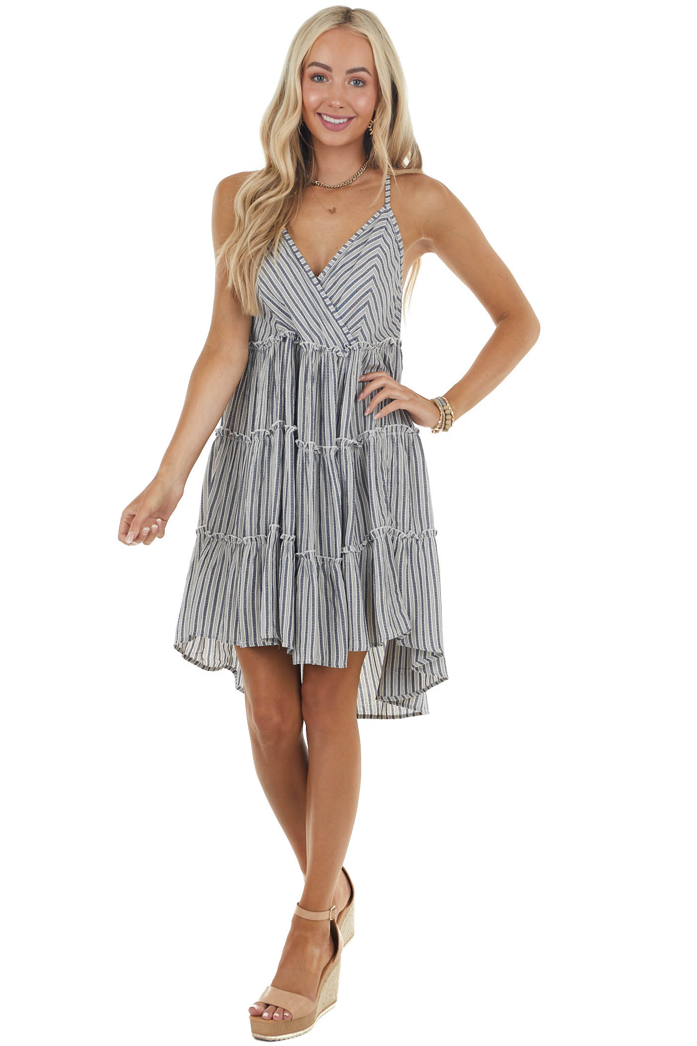 Navy and Cloud Grey Striped Mini Dress with Ruffle Details