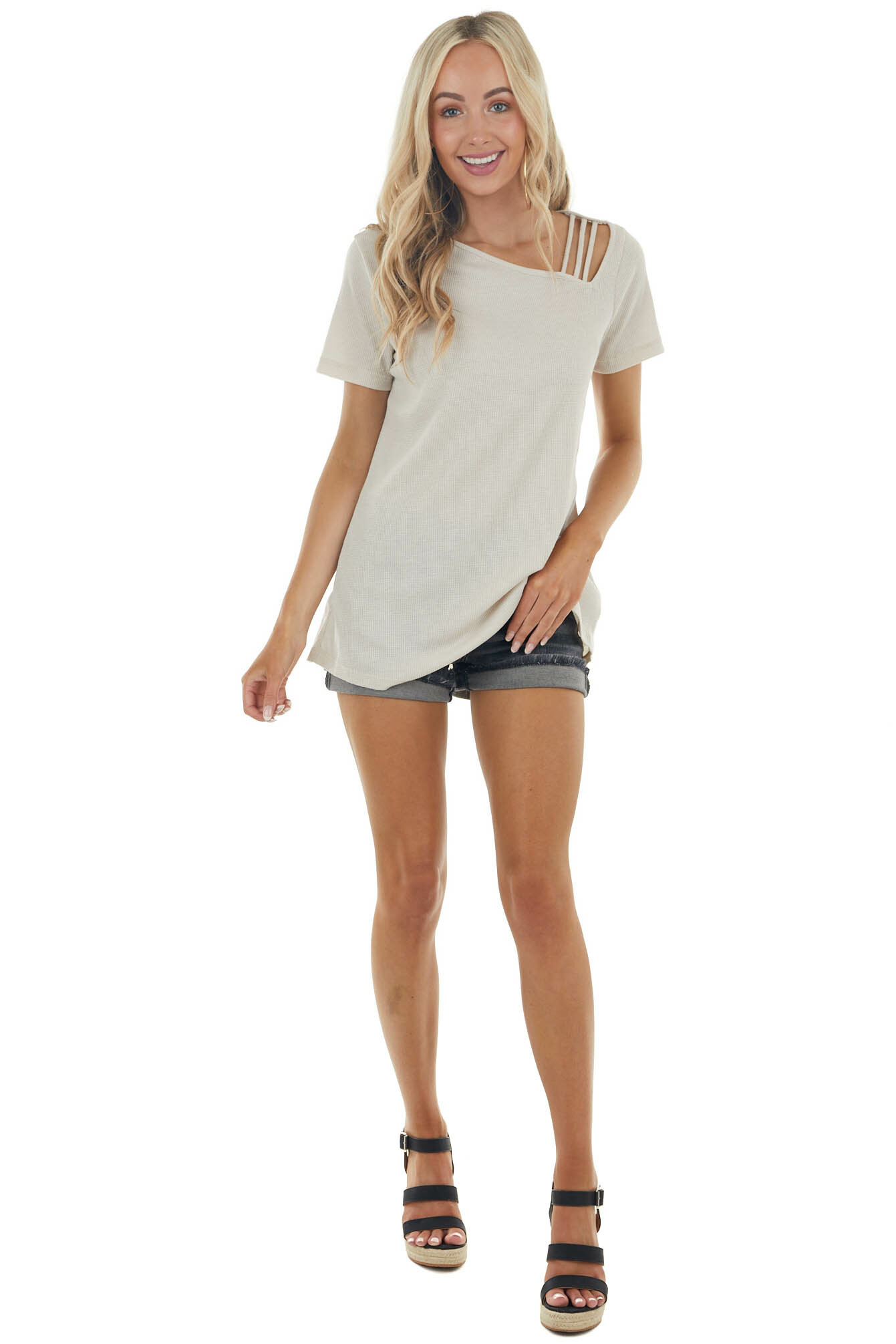 Sand Waffle Knit Short Sleeve Top with Strappy Chest Detail