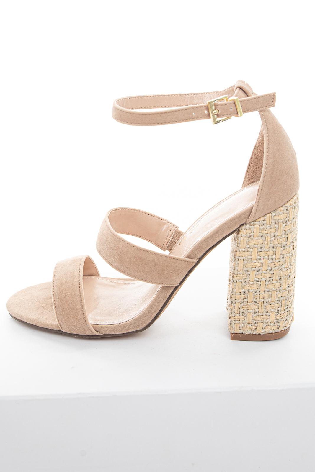 Nude Faux Suede Strappy High Heels with Woven Twine Detail