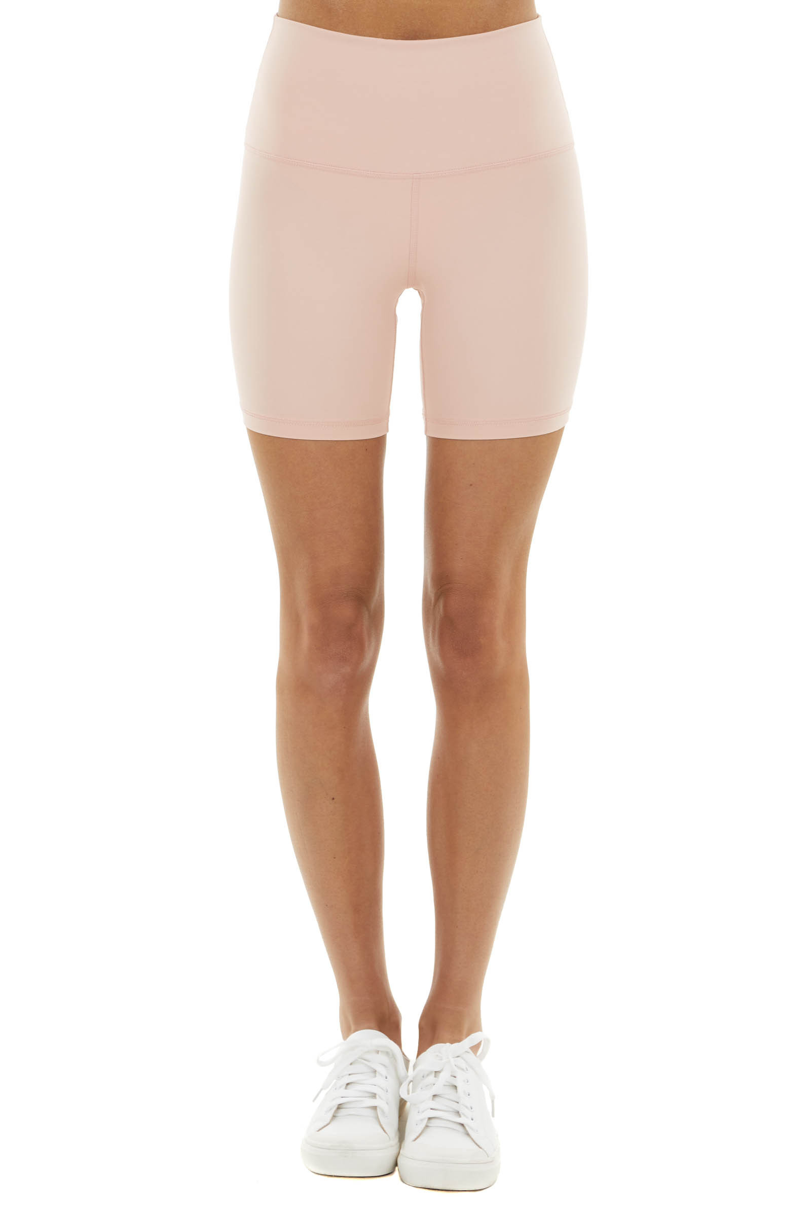 Peach Pink Super Stretchy High Waisted Activewear Shorts