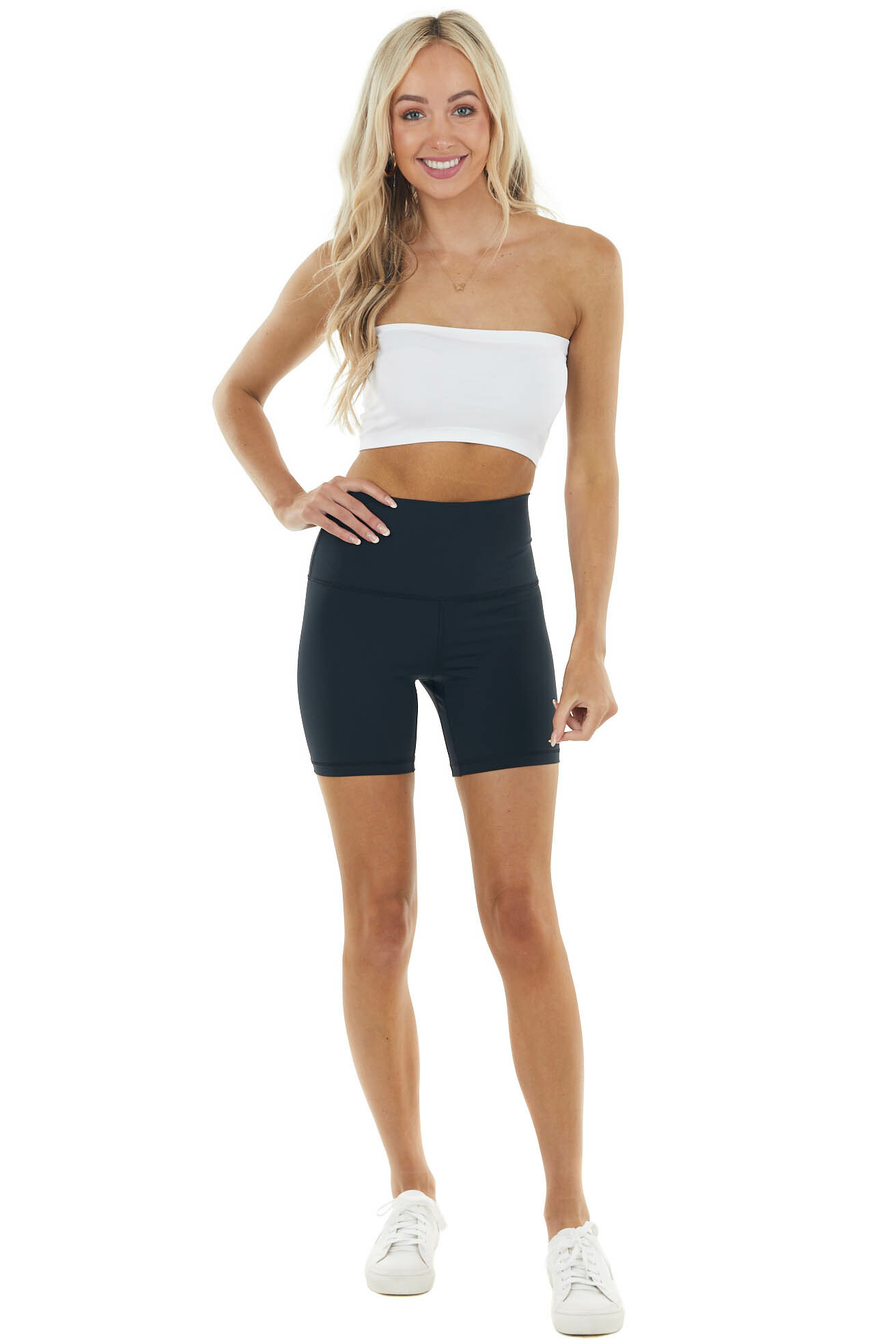 Black Super Stretchy High Waisted Activewear Shorts