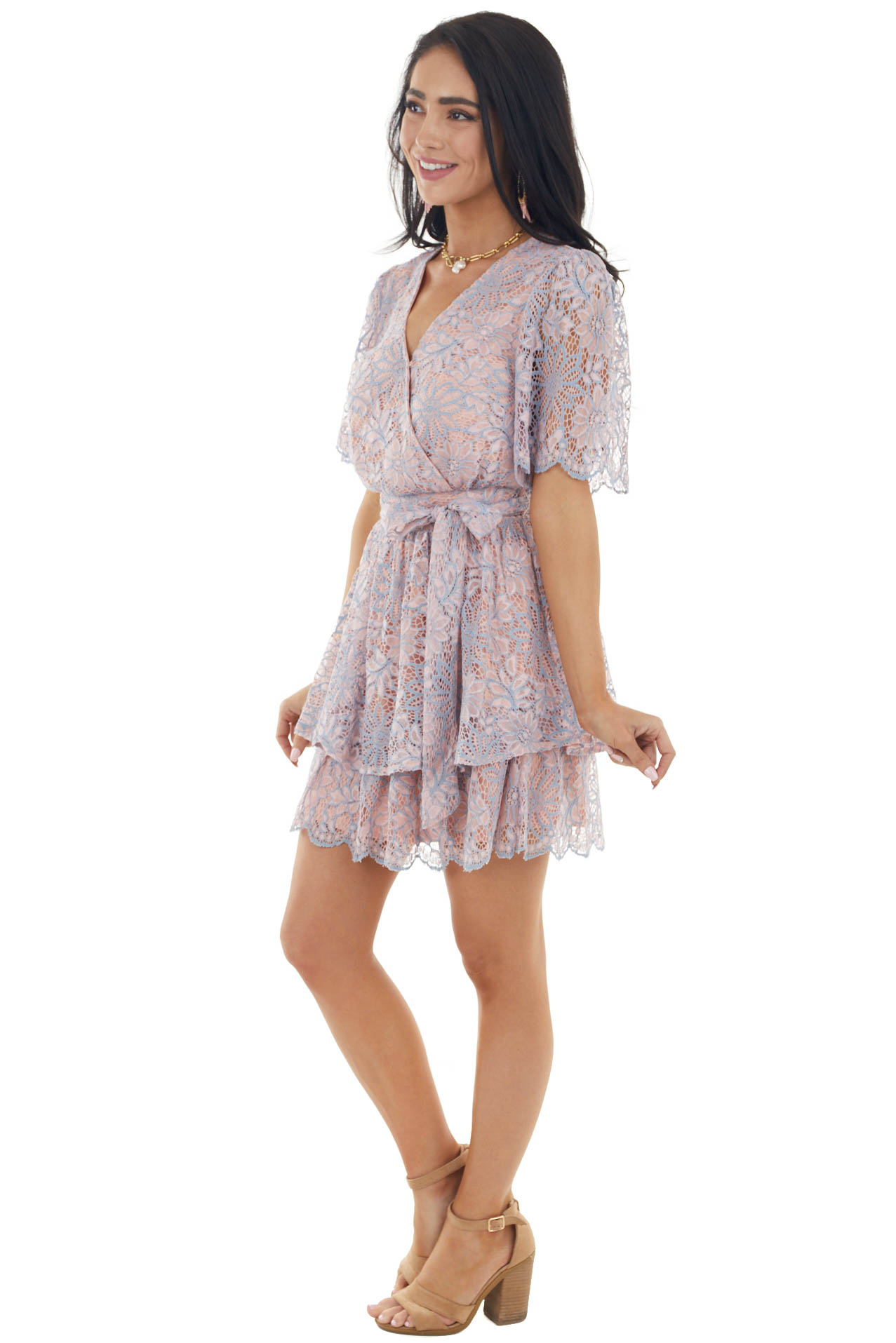 Dusty Blush and Powder Blue Floral Lace Woven Mini Dress