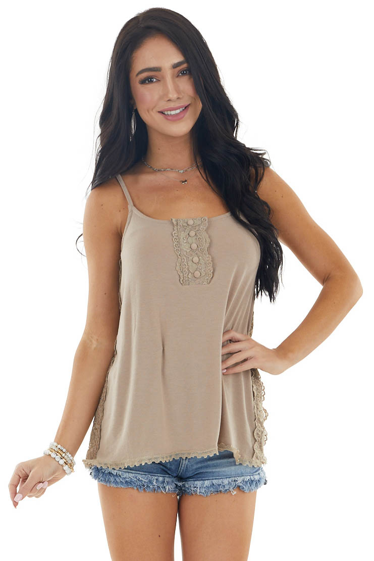 Taupe Sleeveless Lightweight Knit Top with Lace Details