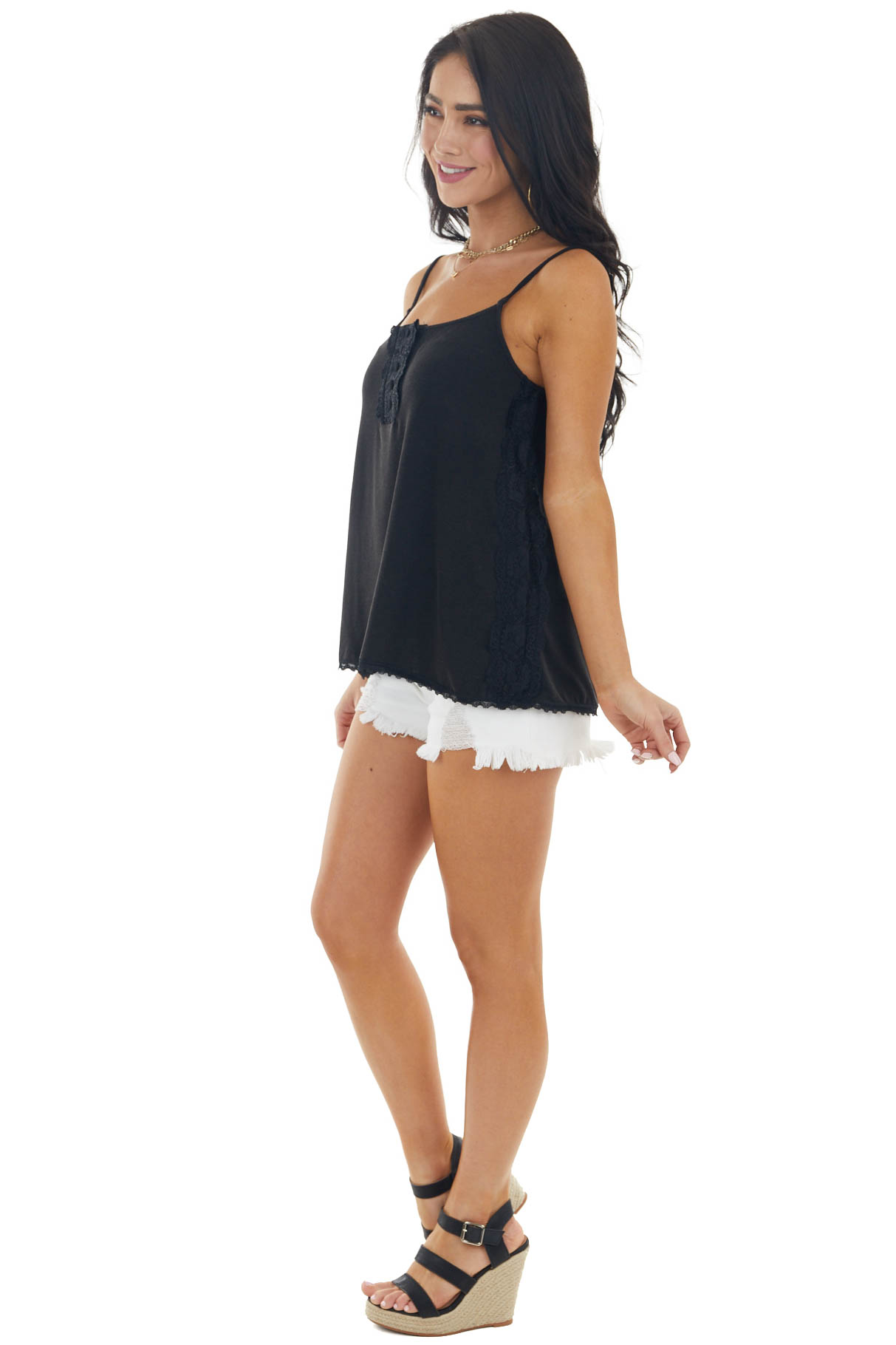 Black Sleeveless Lightweight Knit Top with Lace Details