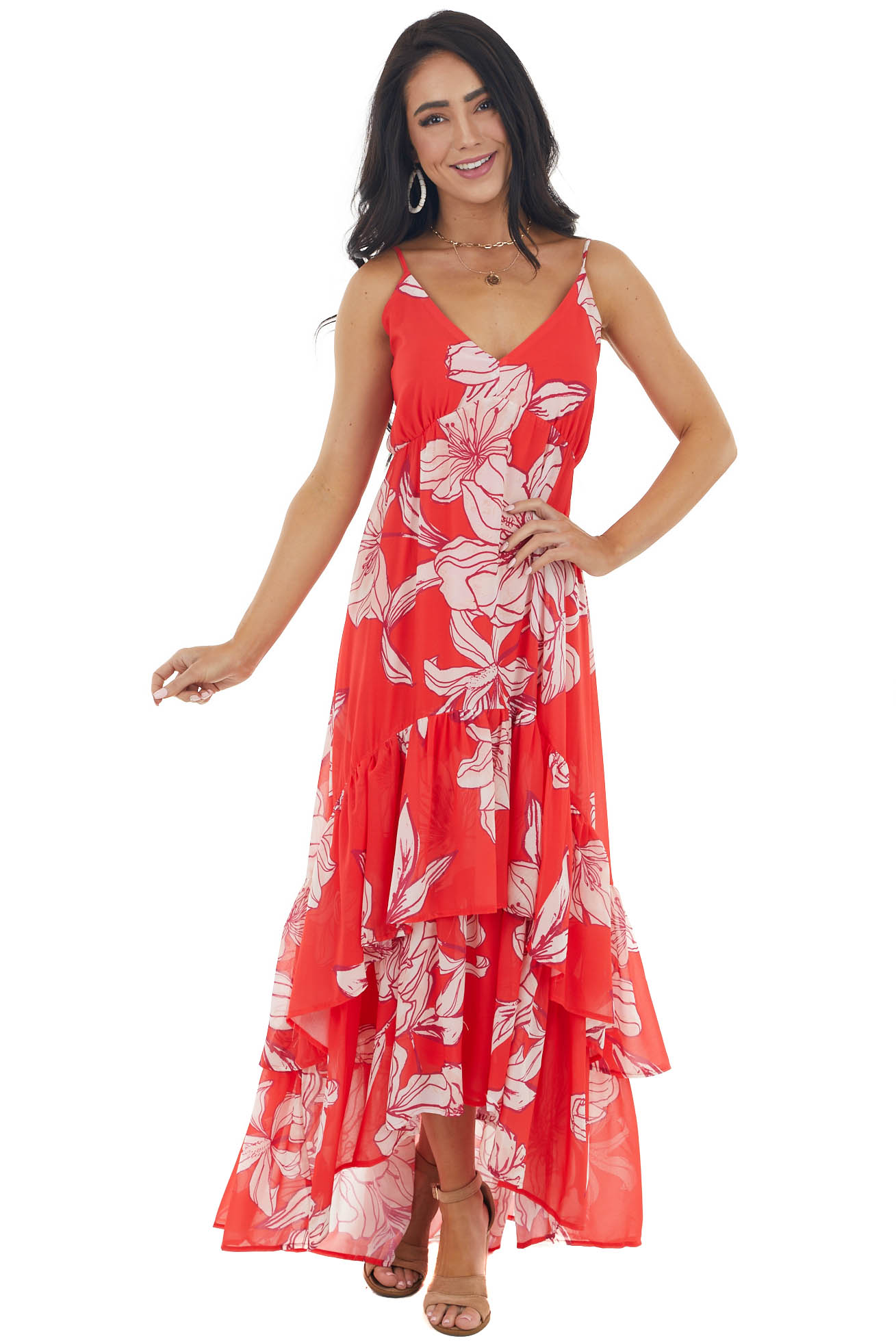 Lipstick Red Large Floral Print High Low Maxi Woven Dress
