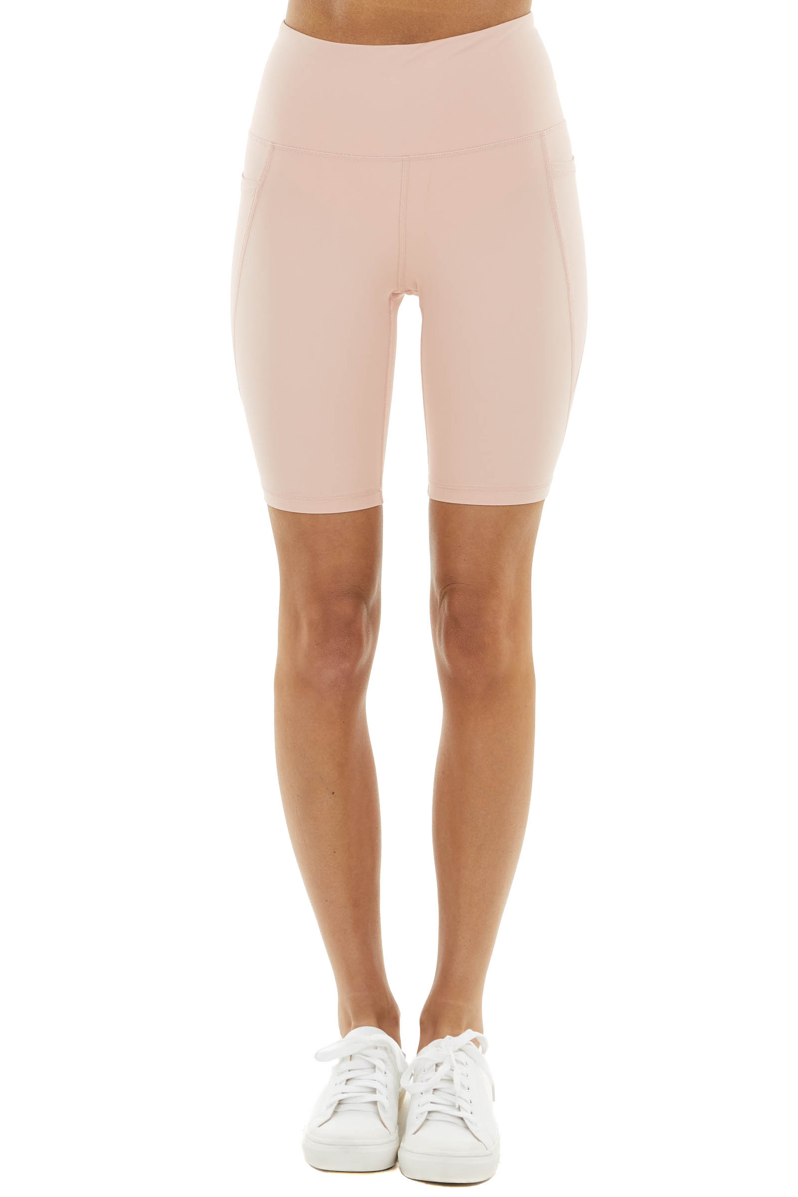 Peach Super Stretchy High Waisted Biker Shorts with Pockets